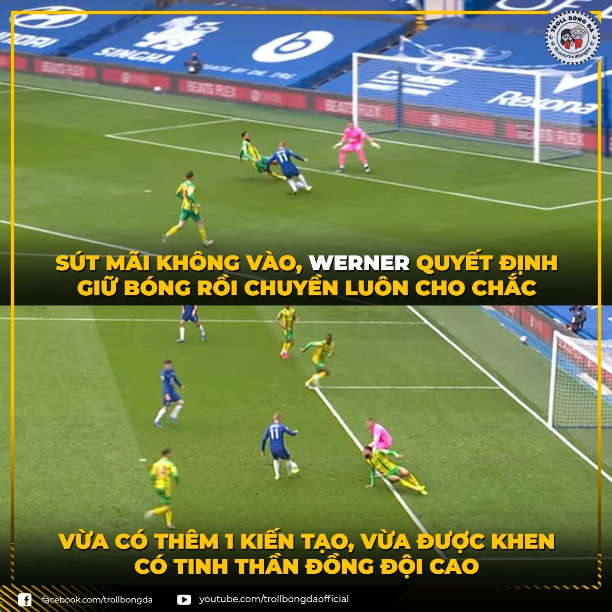 Werner nâng cao thành tích kiến tạo dù vẫn chưa ghi bàn. (Ảnh: Troll bóng đá).