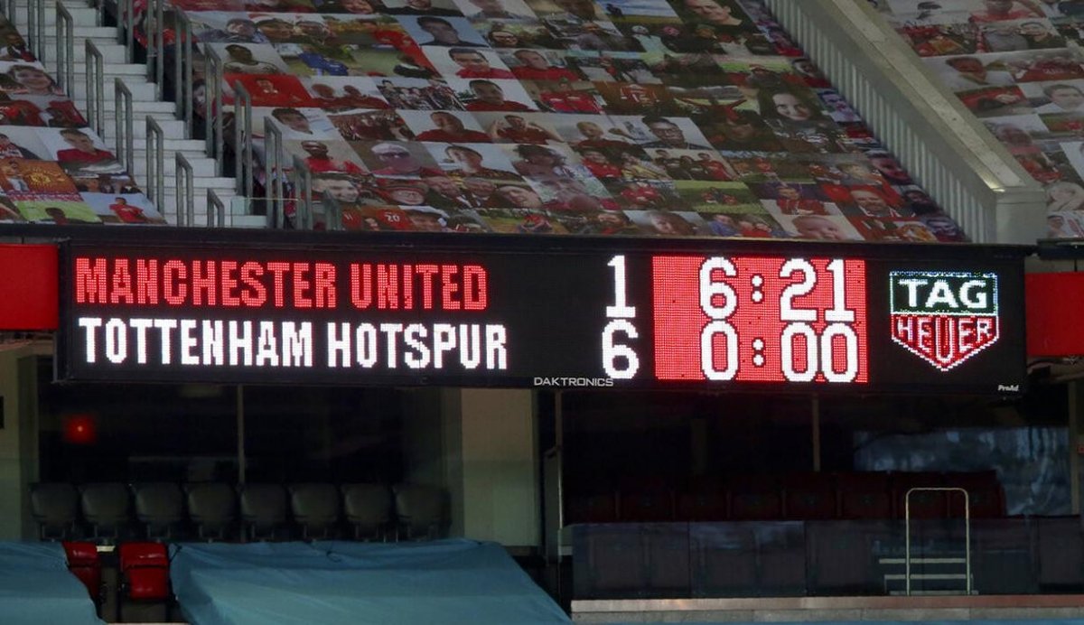 Ác mộng thất bại 1-6 đầy tủi hổ của MU trước Tottenham ở trận lượt đi. (Ảnh: Getty).