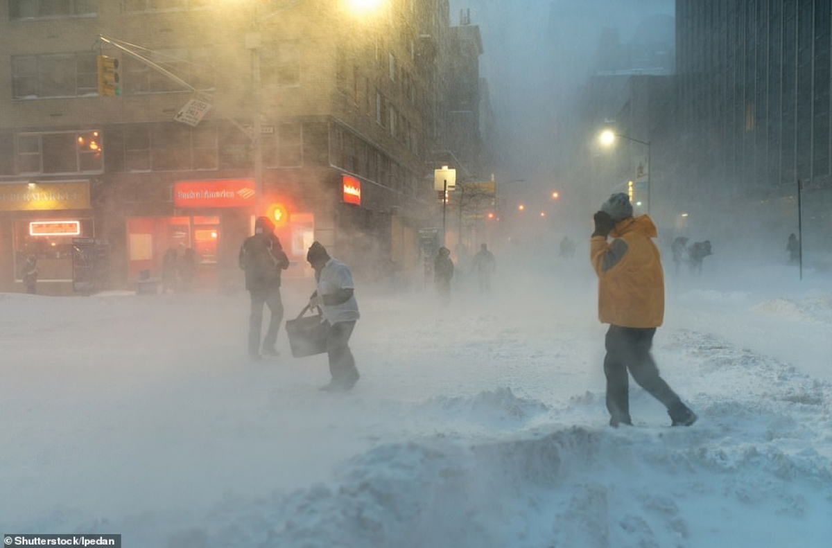 Blizzard in Manhattan, snapped in New York City in the US.