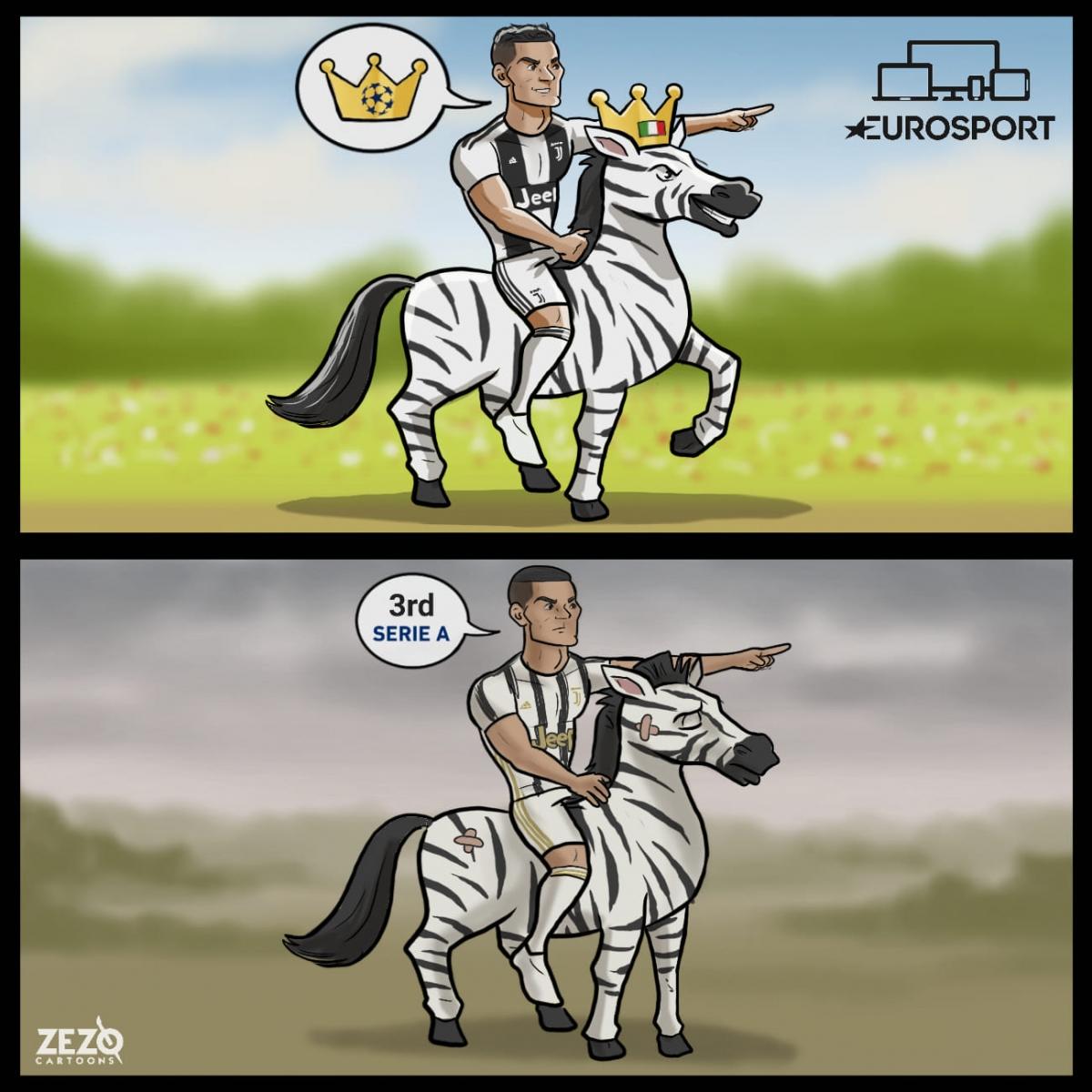 """Cristiano Ronaldo và hành trình """"phú quý giật lùi"""" cùng Juventus. (Ảnh: ZEZO Cartoons)"""