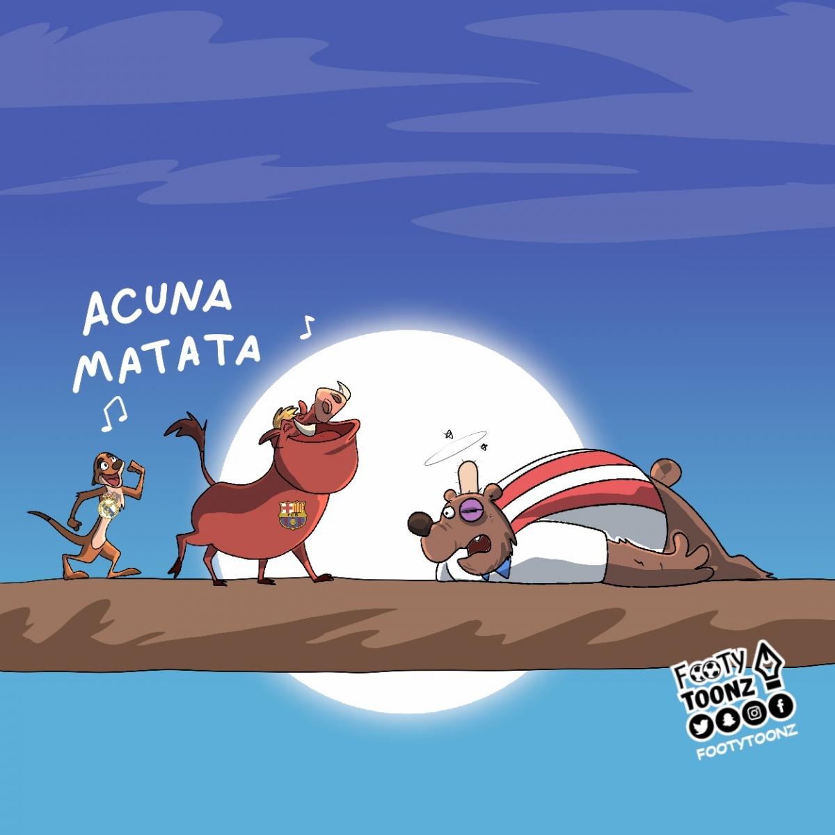 Ghi bàn hạ gục Atletico Madrid, Marcos Acuna trở thành người hùng của Barca và Real Madrid. (Ảnh: Footy Toonz)