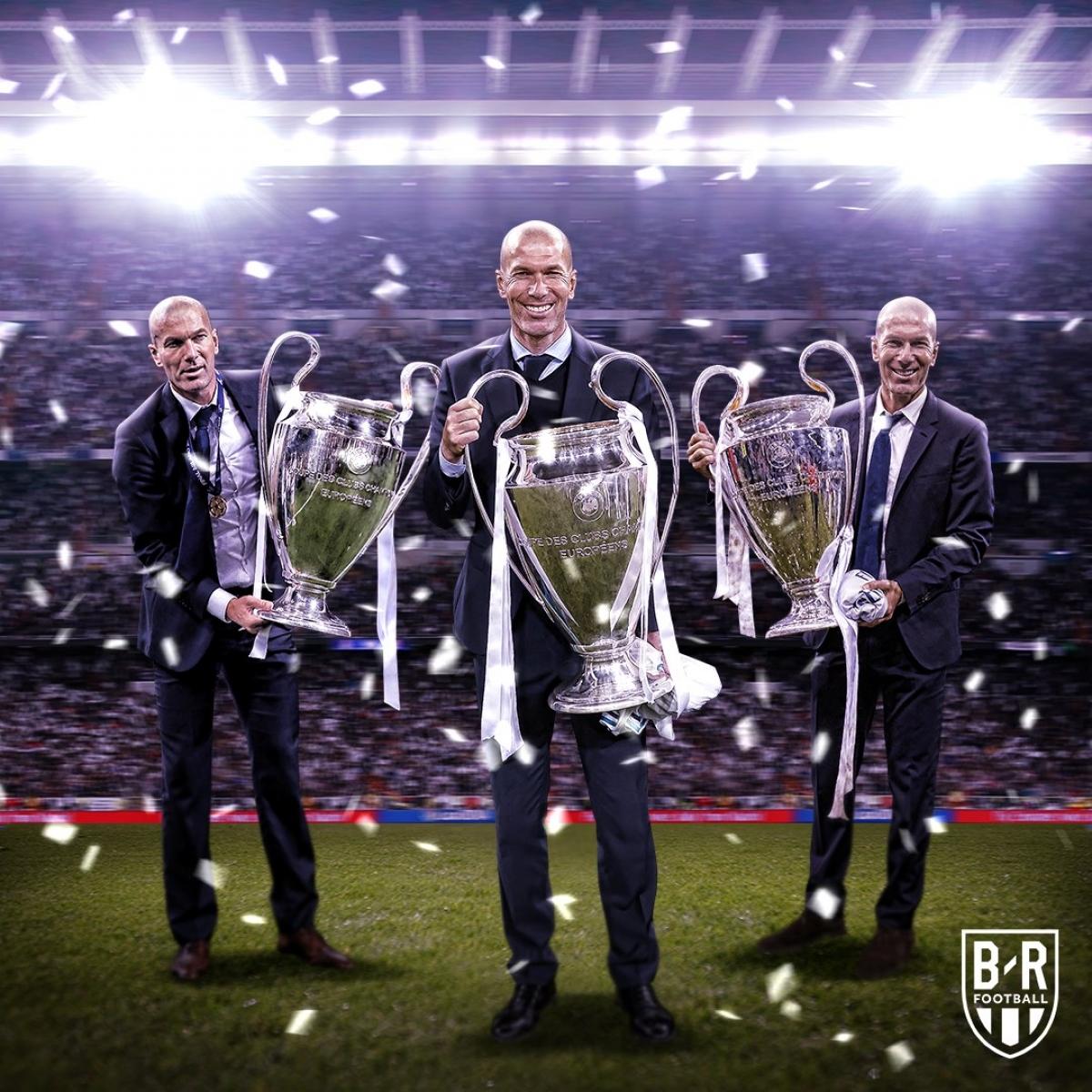Zinedine Zidane cán mốc 50 trận cầm quân ở Champions League. (Ảnh: Bleacher Reports)