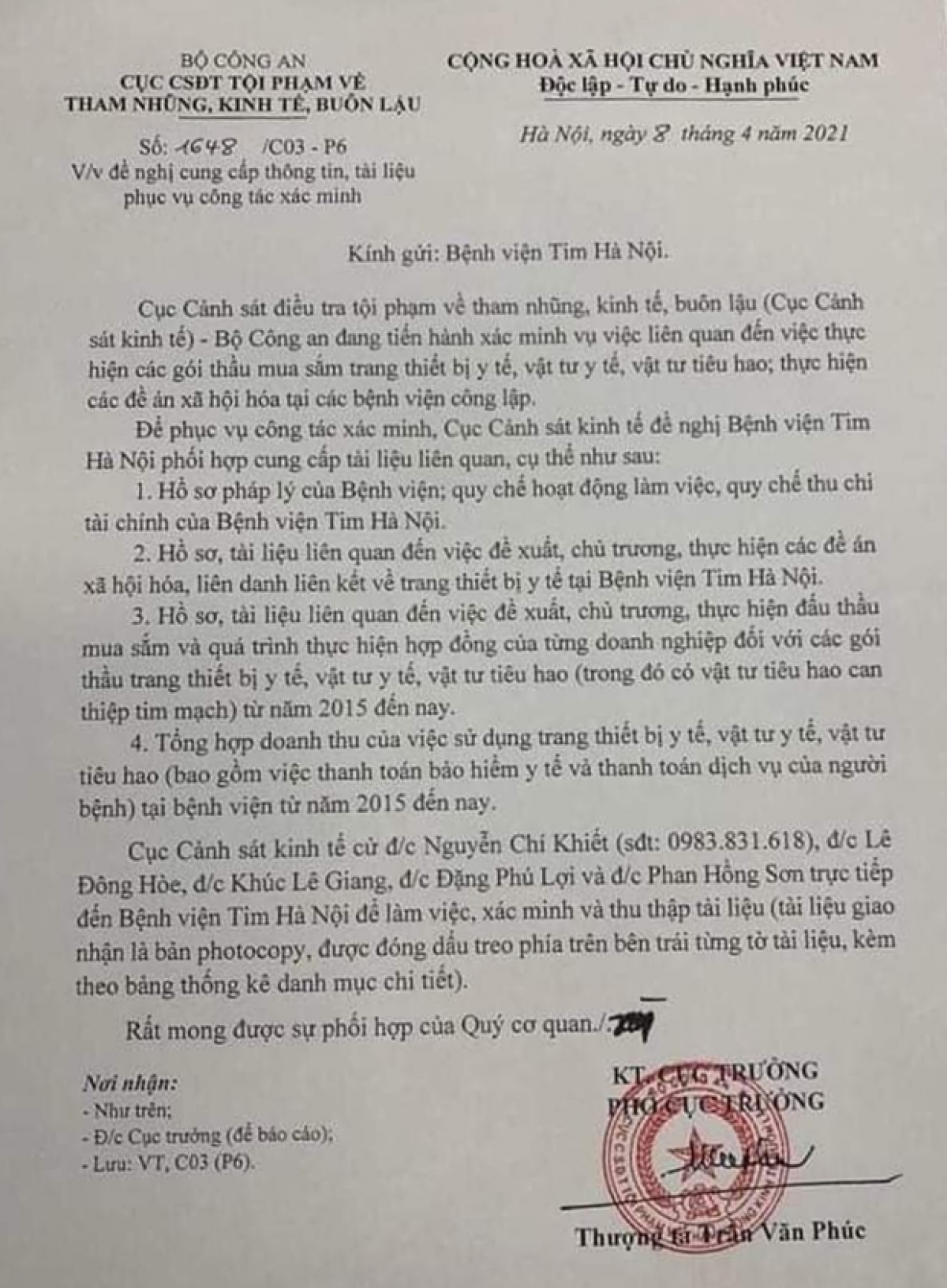 Công văn của C03 gửi Bệnh viện Tim Hà Nội.