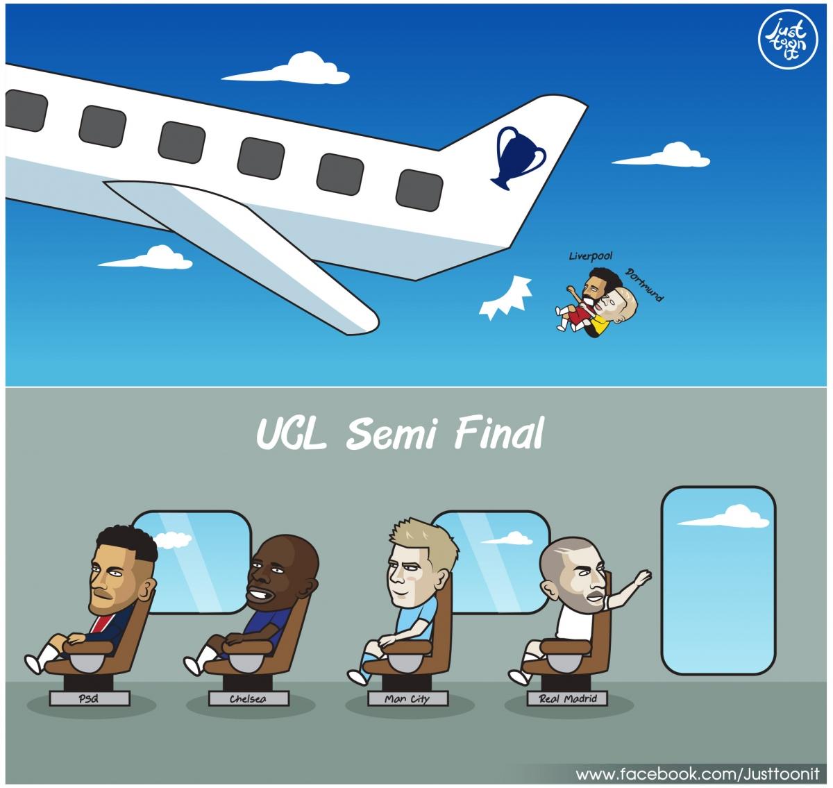 Liverpool và Dortmund chia tay Champions League. (Ảnh: Just Toon It)