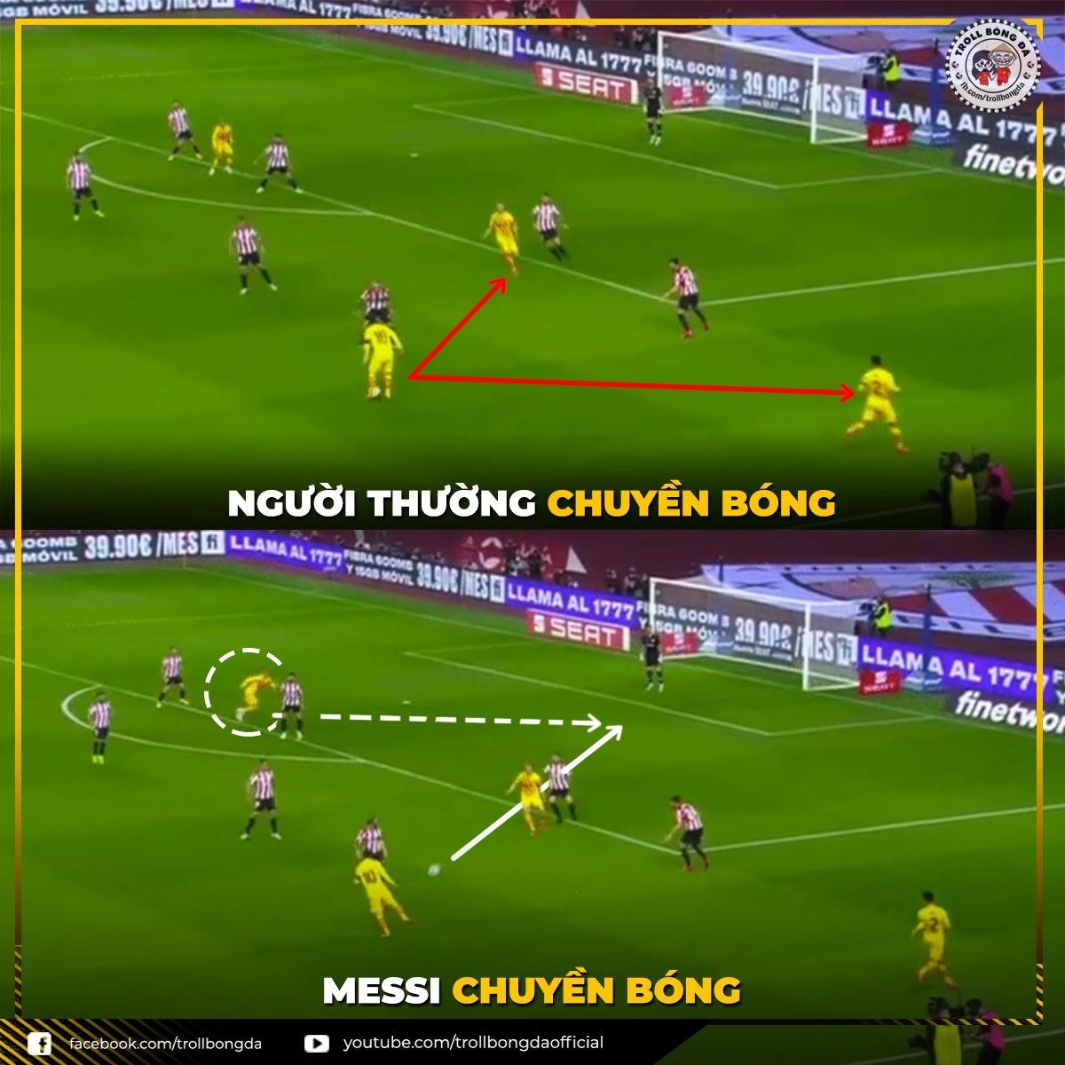 Nhãn quan phi thường của Lionel Messi. (Ảnh: Troll Bóng Đá)