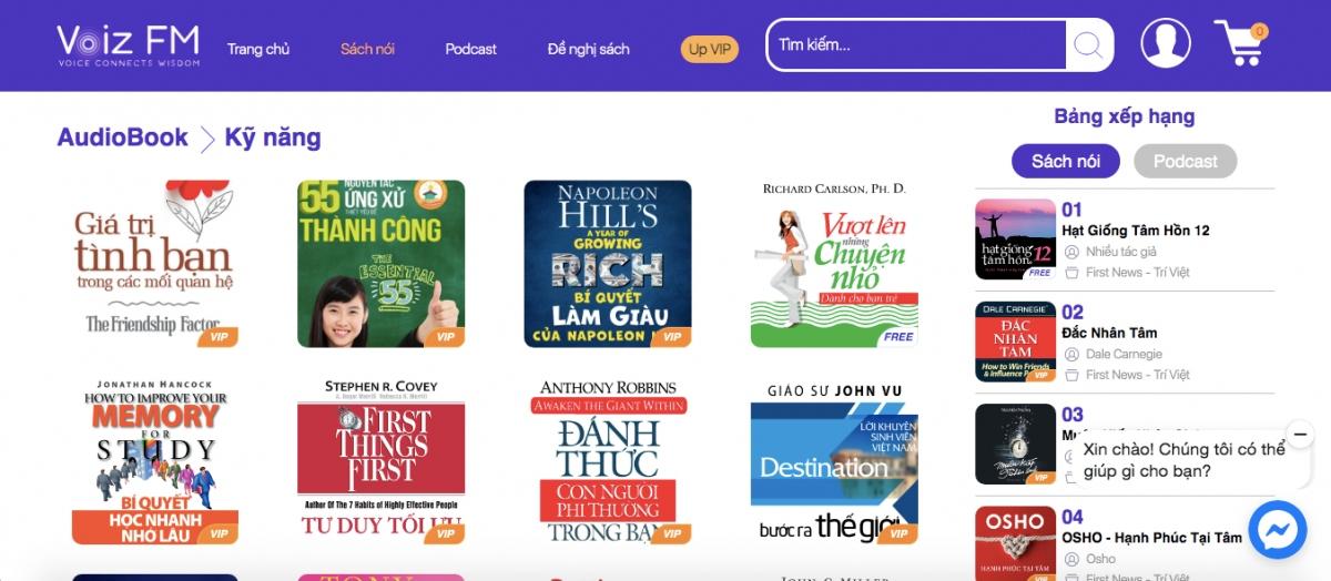 Website của sách nói Voiz FM với nhiều đầu sách sử dụng công nghệ AI đọc thay cho diễn viên