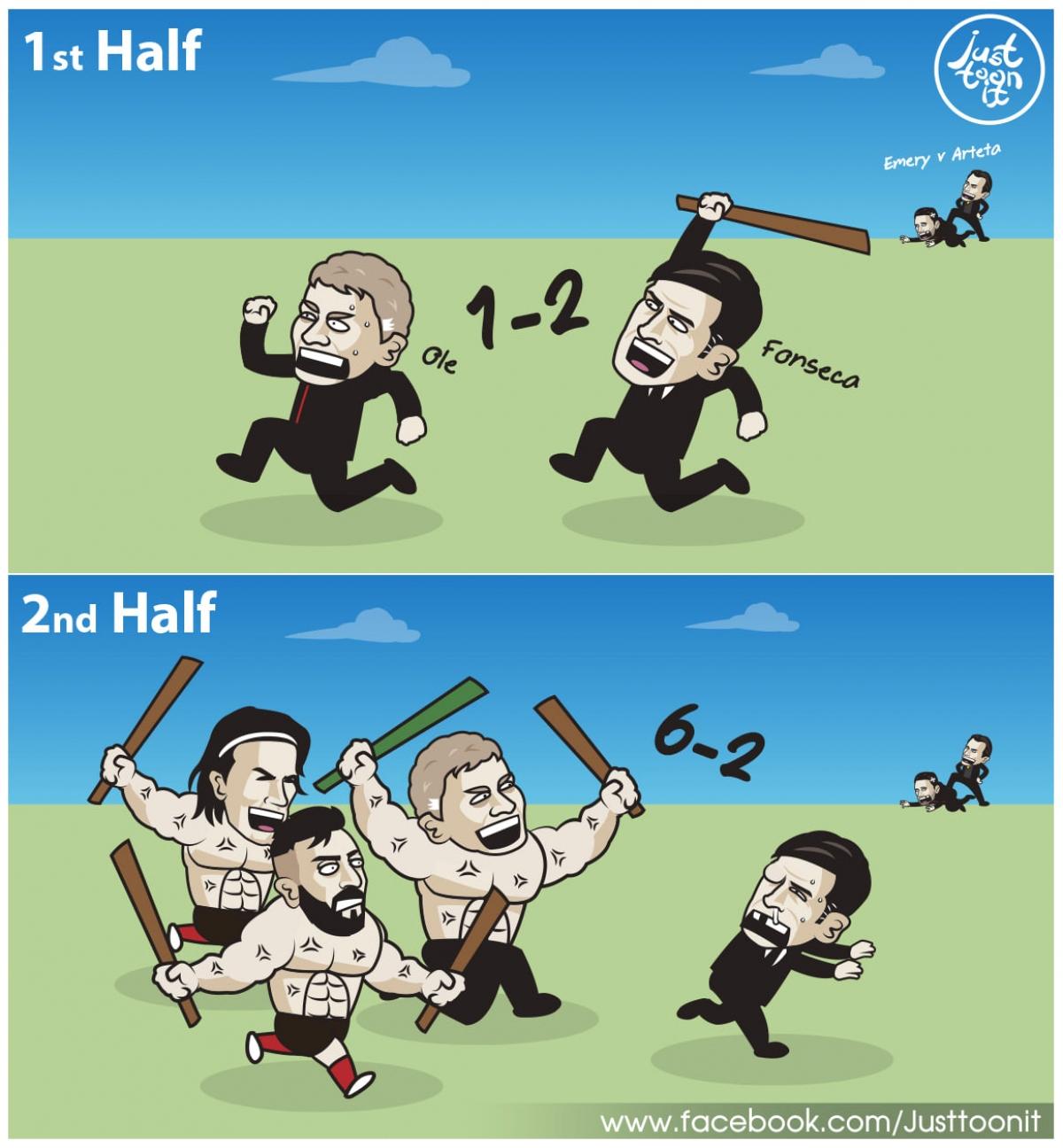 """MU """"giả vờ thua"""" AS Roma trong hiệp 1 rồi lội ngược dòng trong hiệp 2. (Ảnh: Just Toon It)"""