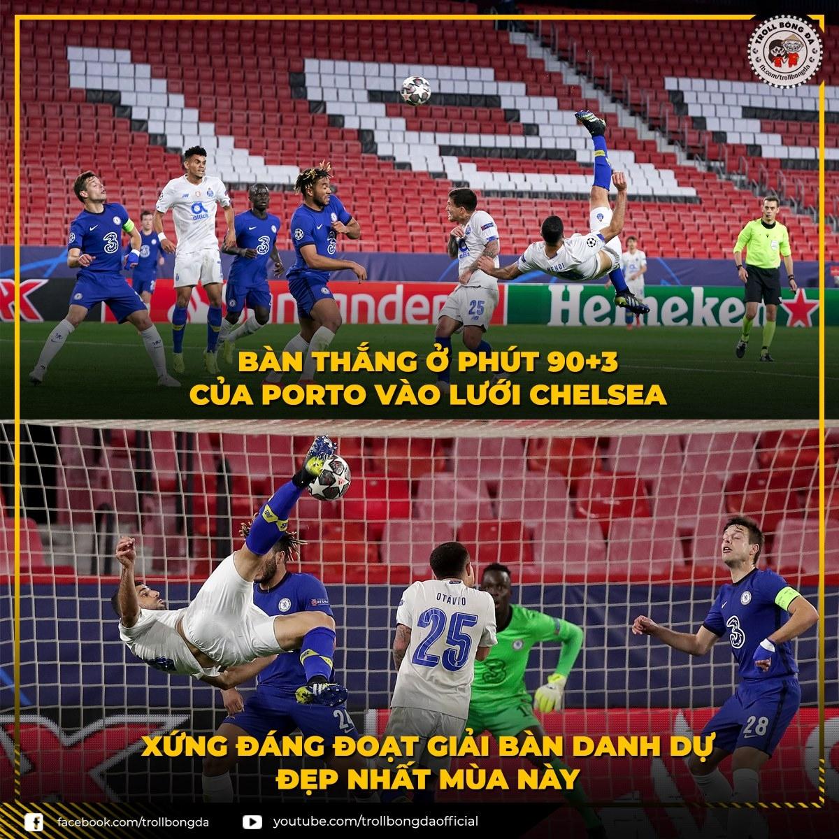 Taremi ghi bàn đẹp mắt vào lưới Chelsea nhưng không đủ giúp Porto vào bán kết Champions League. (Ảnh: Troll bóng đá).