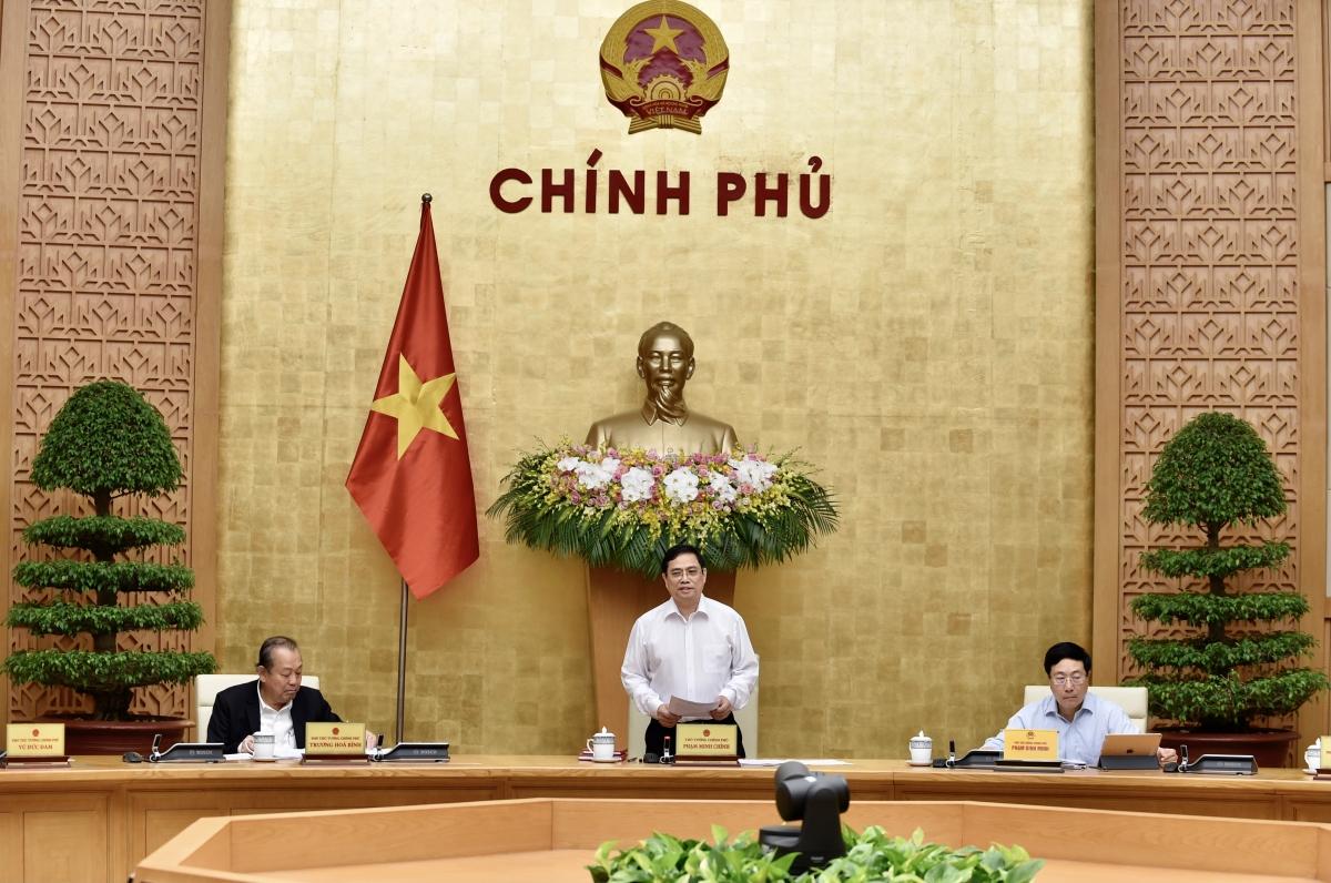 Thủ tướng Chính phủ Phạm Minh Chính chủ trì phiên họp Chính phủ ngày 15/4. Ảnh: VGP/Nhật Bắc