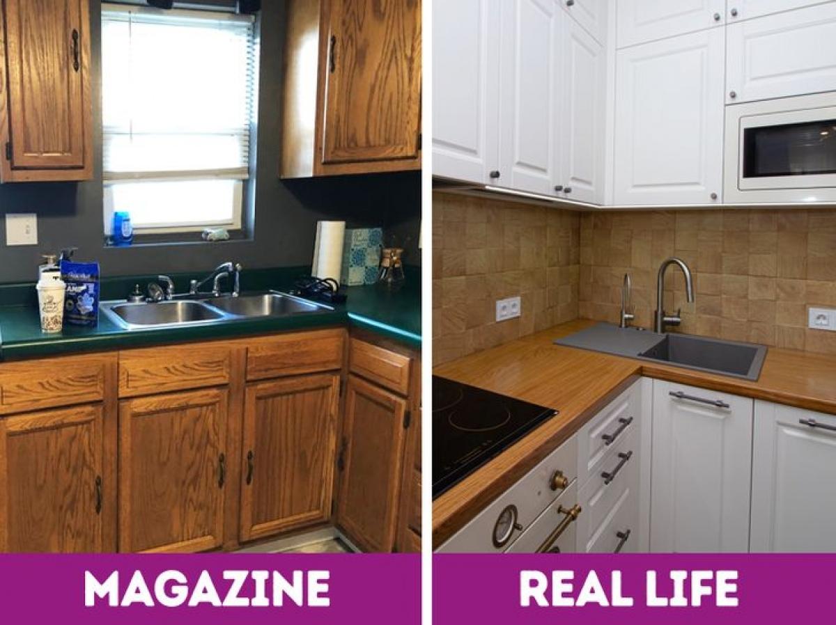 Nhiều người thích đặt tủ bếp cạnh cửa sổ, bởi lấy không khí thoáng đãng và tưởng tượng đến việc vừa rửa bát, làm bếp vừa ngắm khung cảnh thiên nhiên ngoài cửa sổ. Tuy nhiên, bạn cũng cần cân nhắc bởi cửa sổ sẽ nhanh bẩn hơn so với đặt bếp ở không gian góc thông thường.