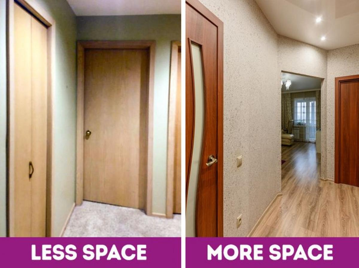 Cửa phòng: không phải căn phòng nào cũng cần có cửa. Cửa thường tốn nhiều diện tích, khiến không gian chật hẹp và cũng tốn của bạn một khoản tiền không nhỏ. Bạn có thể tham khảo các giải pháp cải tạo không gian mở, sử dụng vách ngăn, rèm cửa, bình phong để ngăn cách các phòng, đặc biệt các không gian chung như: bếp, phòng khách, phòng thư giãn, phòng tập thể dục...