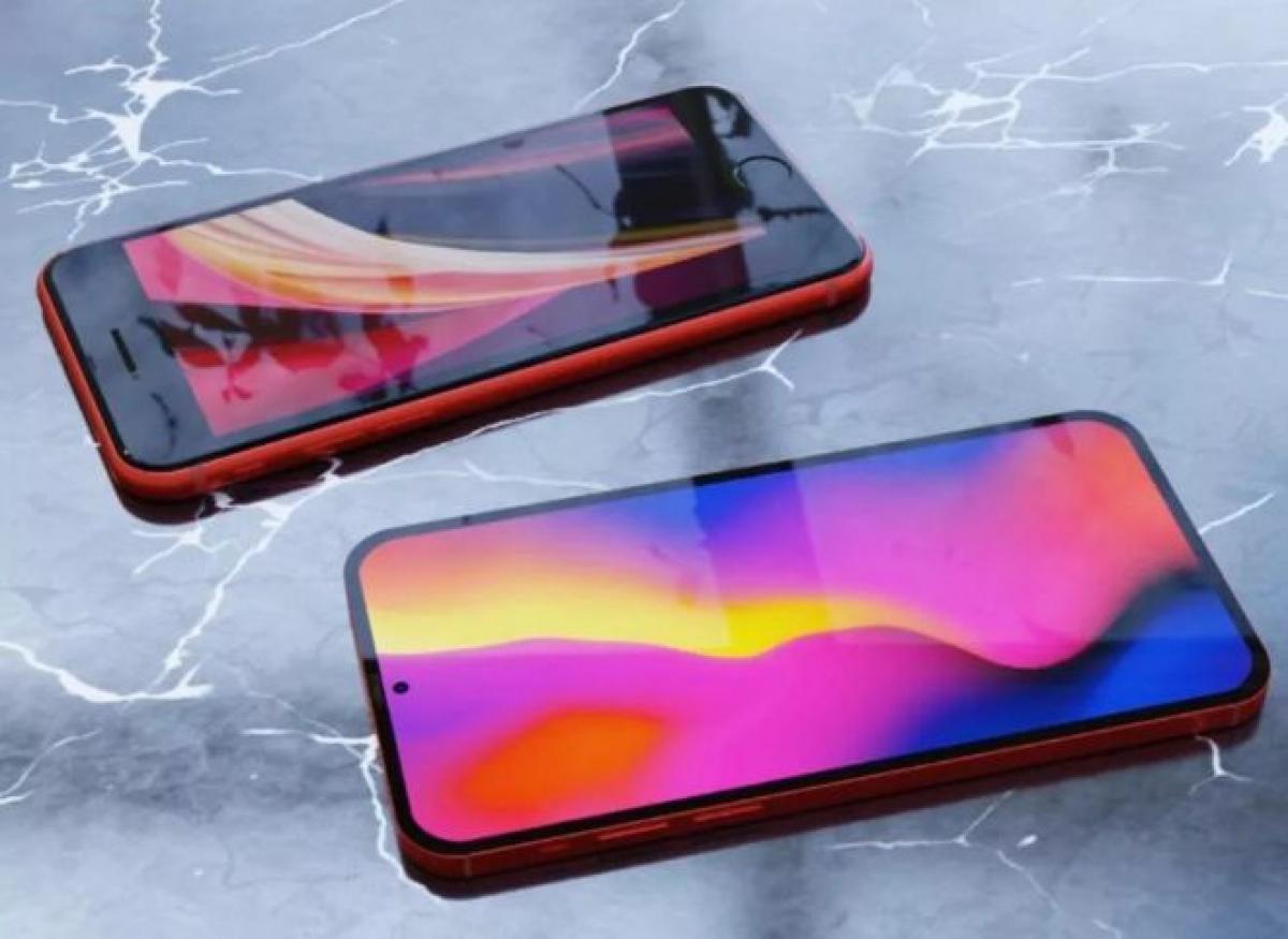 Hình ảnh minh họa chiếc iPhone SE với màn hình đục lỗ.