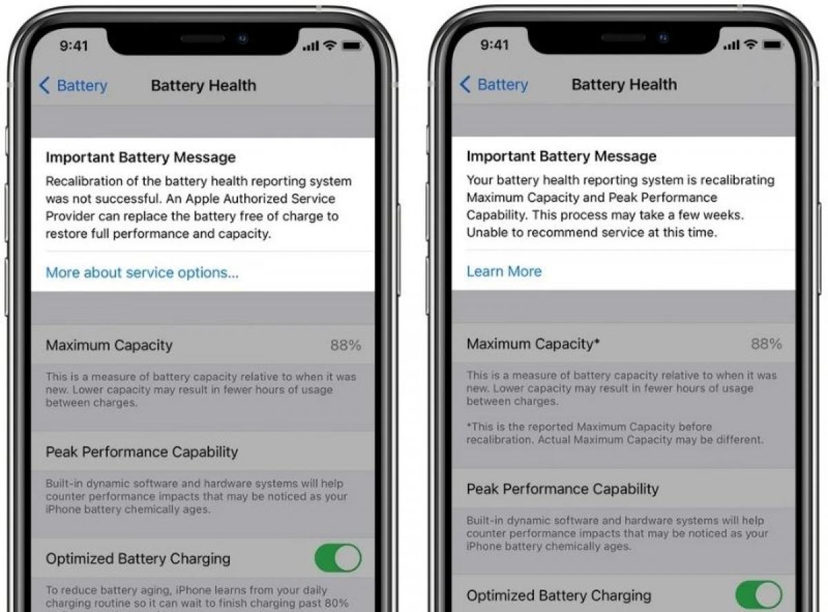 Tính năng hiệu chuẩn pin sẽ giúp người dùng iPhone 11 nhận được kết quả về dung lượng pin tối đa trên máy ra sao.