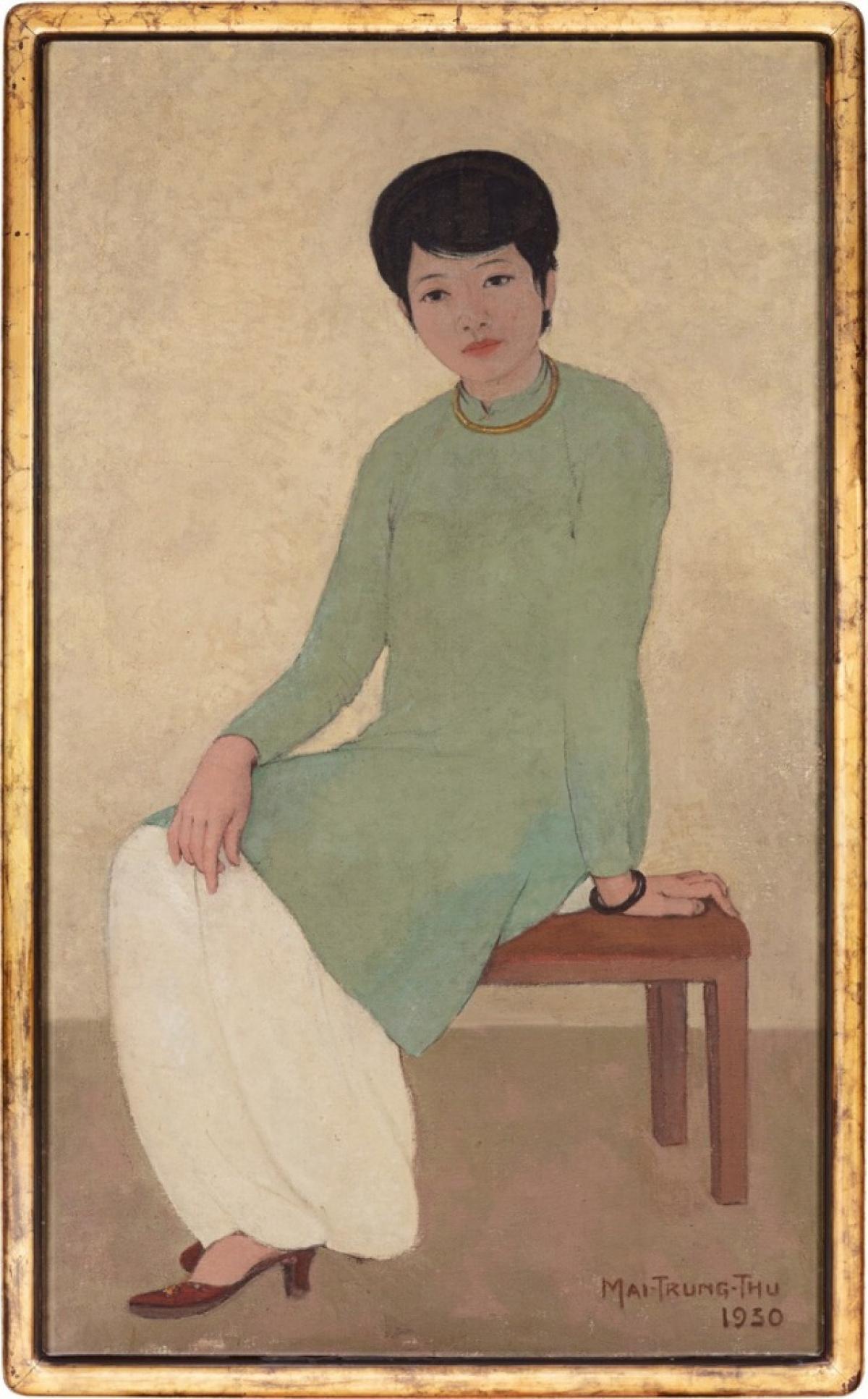 """""""Portrait de Mademoiselle Phuong"""" (tạm dịch:""""Chân dung cô Phương"""") - bức tranh sơn dầu quý hiếm của họa sĩ Mai Trung Thứ - vừa đạt mức giá kỷ lục 3,1 triệu USD trong phiên đấu giá """"Beyond Legends: Modern Art Evening Sale"""" tại Sotheby's Hong Kong."""