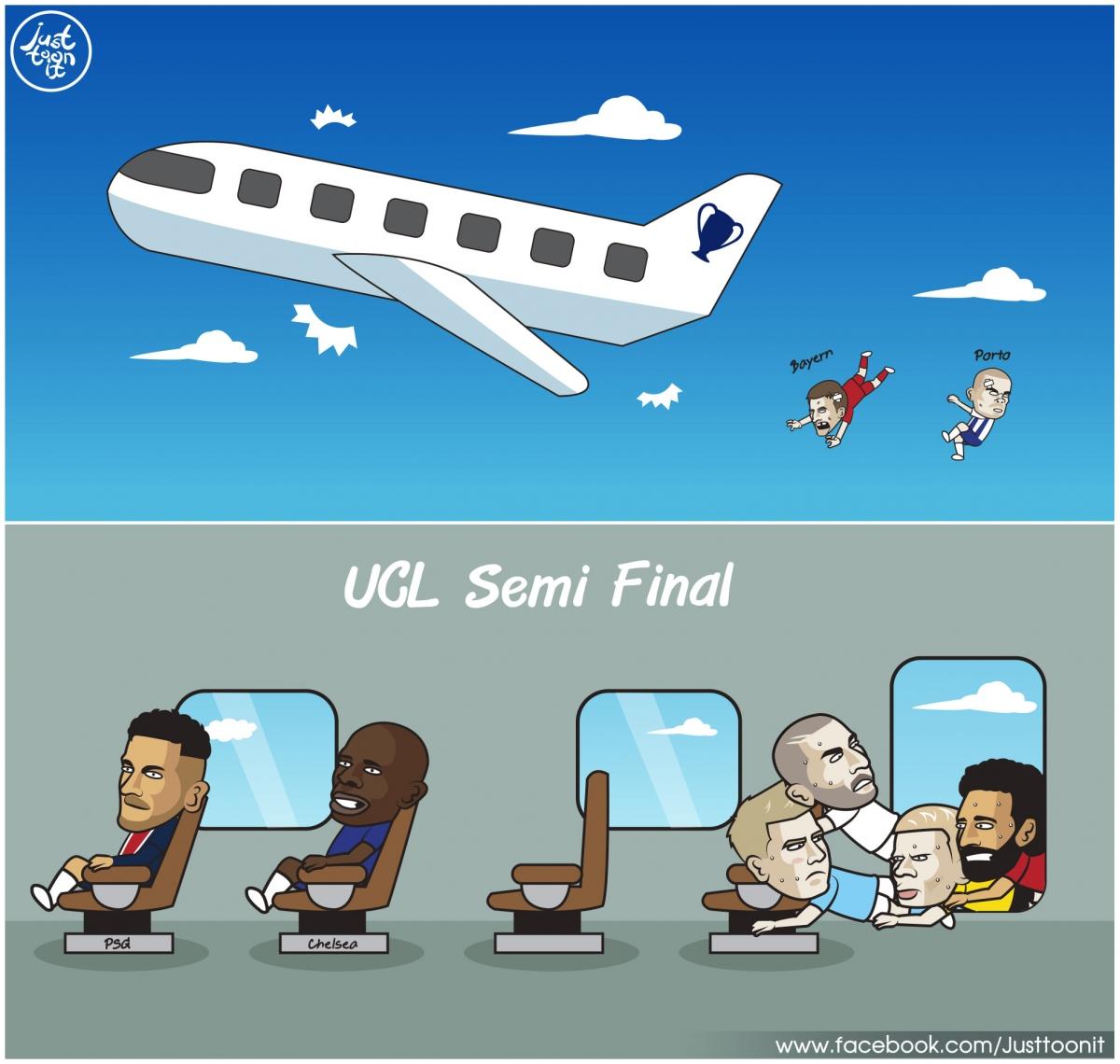 Toàn cảnh Champions League sau hai trận đấu sớm lượt về tứ kết. (Ảnh: Just Toon it).