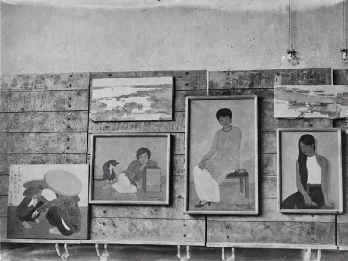 """Tác phẩm """"Portrait de Mademoiselle Phuong"""" xuất hiện trong buổi triển lãm tranh tại Trường cao đẳng Mỹ thuật Đông Dương năm 1930. (Ảnh: SOTHEBY'S)"""