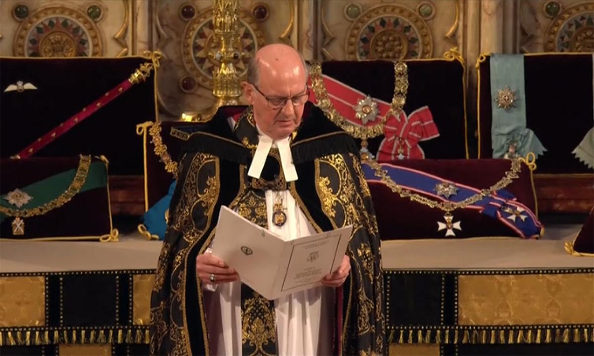 Tổng giám mục xứ Canterbury Justin Welby đọc điếu văn tại lễ tang. Ảnh:Reuters.