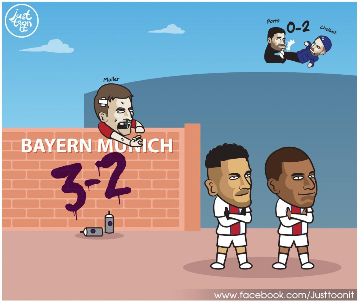 Toàn cảnh 2 trận tứ kết lượt đi cuối cùng của Champions League. (Ảnh: Just Toonit).