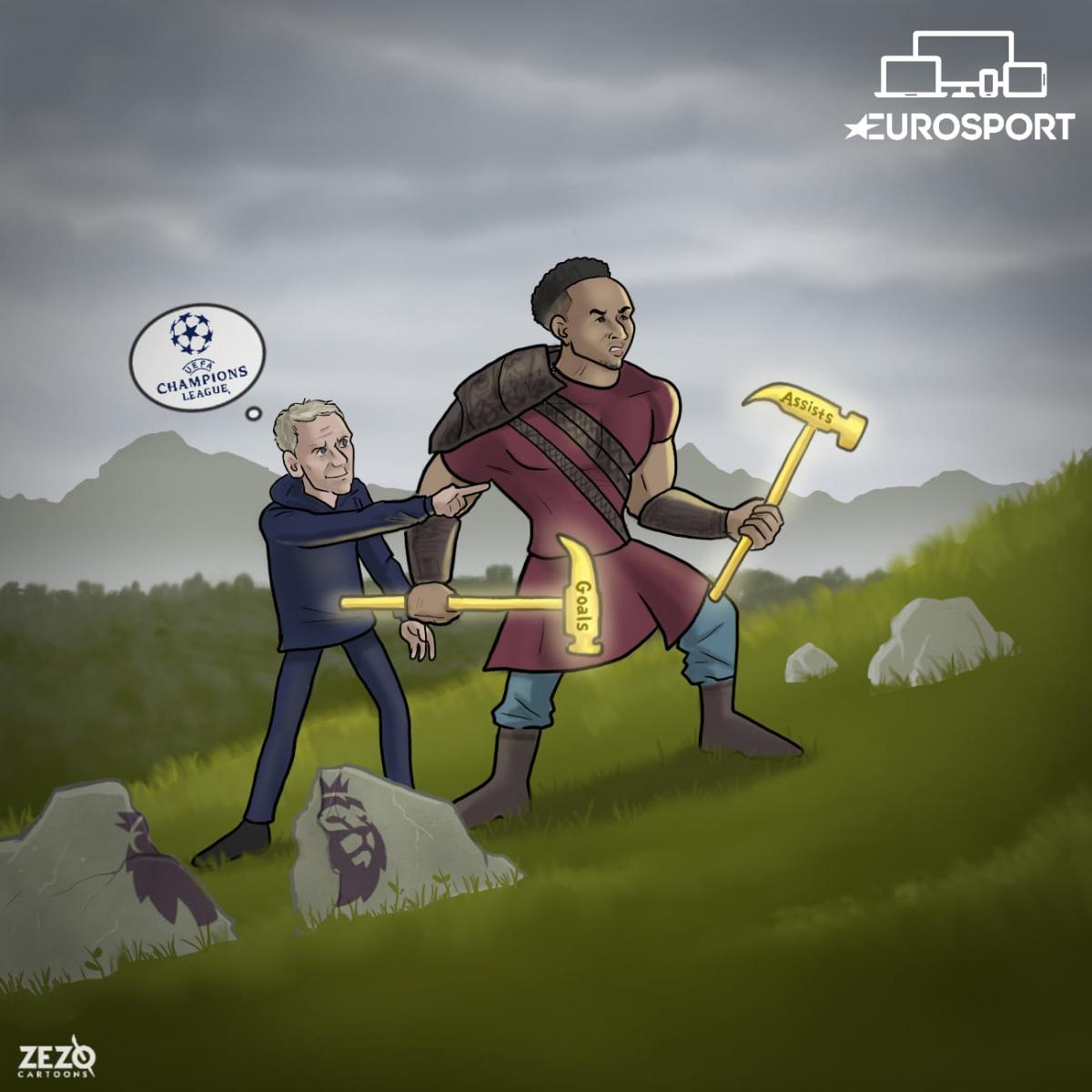"""Lingard """"gánh"""" West Ham của David Moyes đến gần tấm vé dự Champions League mùa tới. (Ảnh: Zezo Cartoons)."""