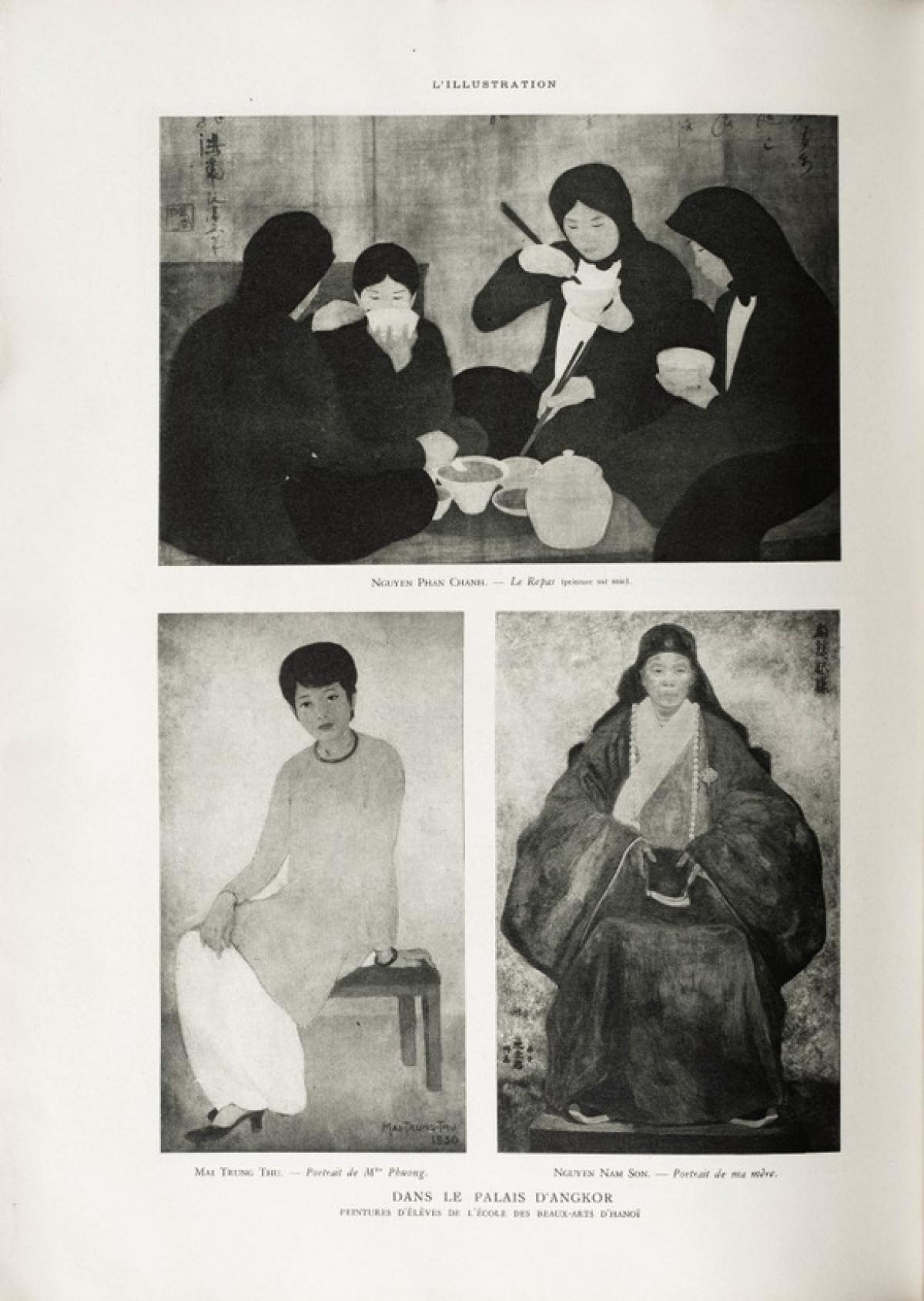 3 tác phẩm của họa sĩ Mai Trung Thứ, Nguyễn Nam Sơn, Nguyễn Phan Chánh được giới thiệu trong cuốn vựng tập Triển lãm Quốc tế Thuộc địa năm 1932. (Ảnh: SOTHEBY'S)./.