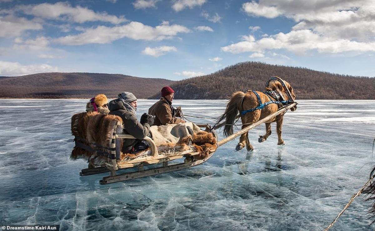 Ice Sledging in Lake Khovsgol in Mongolia.
