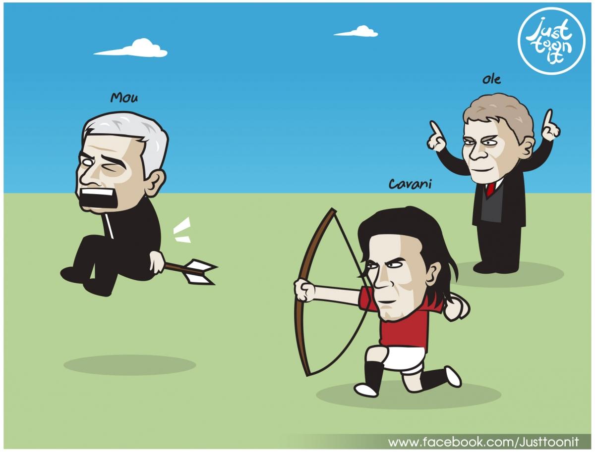 Cavani bắn hạ HLV Mourinho và Gà trống.