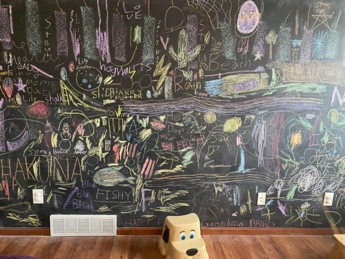 Tường đen với phấn màu trang trí: Đây là ý tưởng được nhiều người yêu thích, tuy nhiên, sẽ có rất nhiều bụi phấn vương vãi trên sàn. Ngoài ra, bạn cũng khó khăn để sơn một màu khác./.