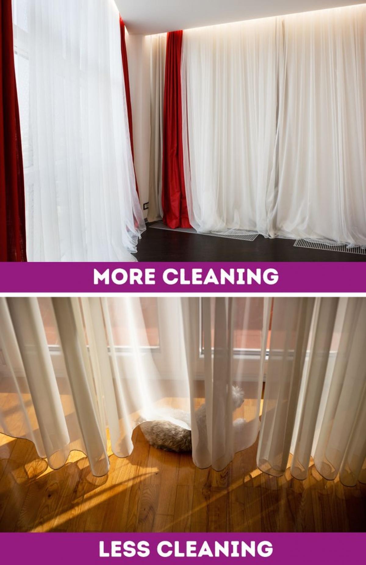 Rèm cửa dài khiến căn nhà bạn thêm luộm thuộm, nhanh bẩn, cần phải được giặt giũ thường xuyên. Thêm nữa, nếu bạn muốn bày trí nội thất gần cửa sổ, đây cũng là điều bất khả thi.