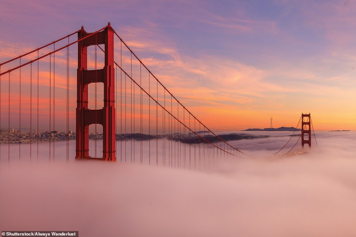Advection Fog, taken by the Golden Gate Bridge of San Francisco in the US.
