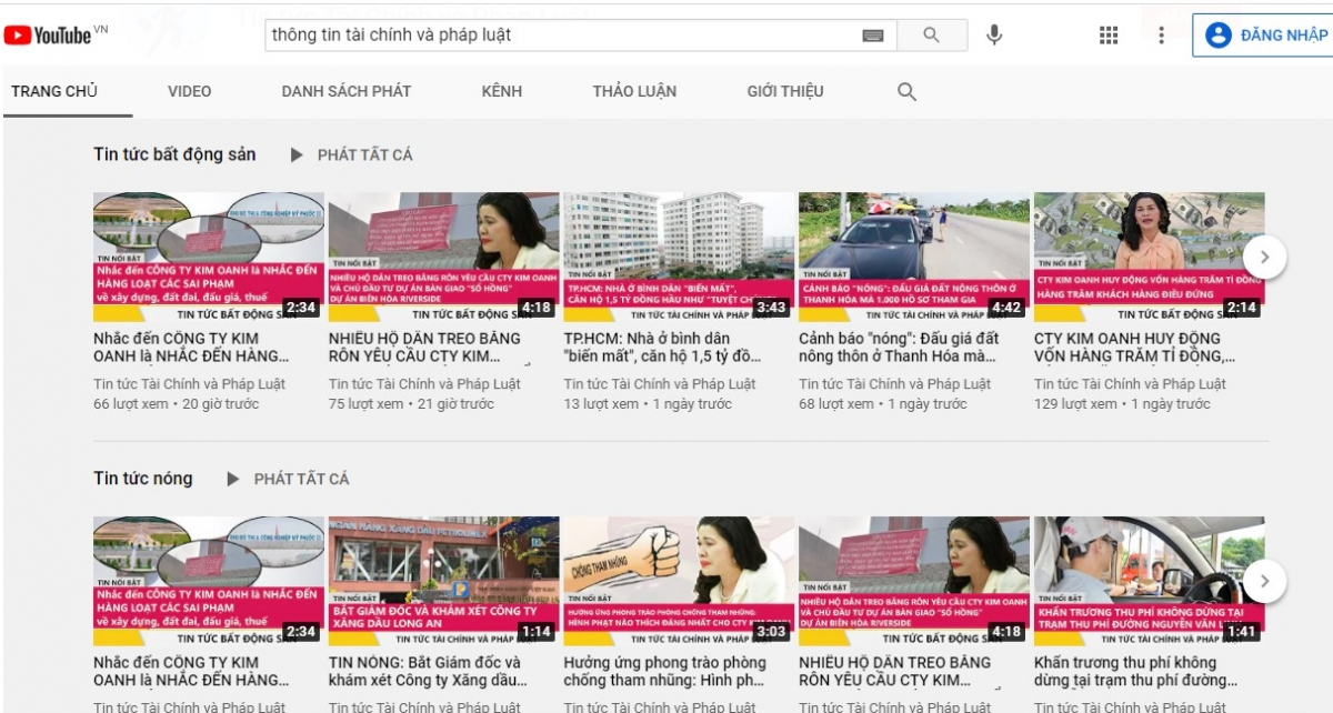 """Tài khoản nặc danh """"thông tin tài chính và pháp luật"""" được lập ra để bôi xấu có chủ đích nhắm vào Kim Oanh, có 85/ 180 clip là bôi xấu Kim Oanh tính đến 16/4/2021."""