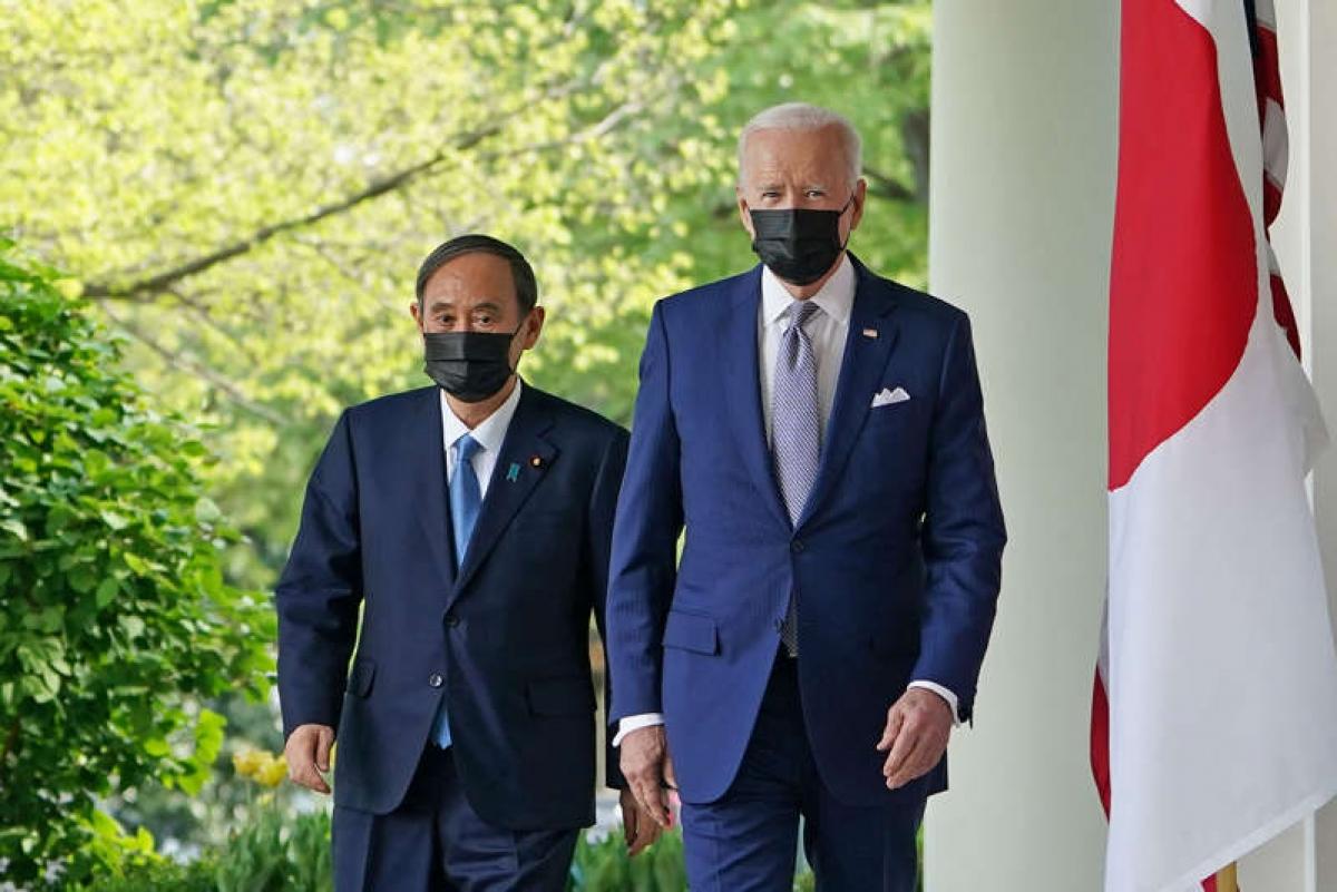 Thủ tướng Nhật Bản Suga Yoshihide và Tổng thống Mỹ Joe Biden. Ảnh: AFP