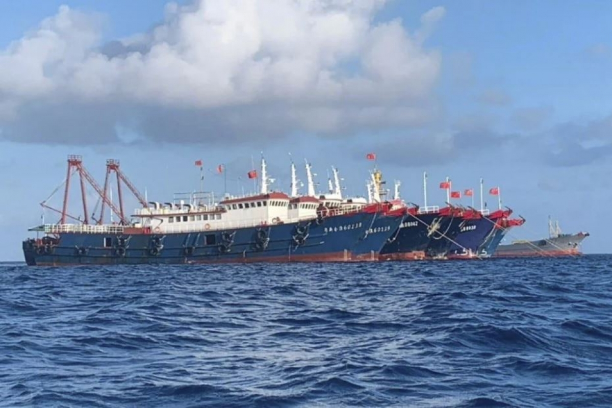 Philippines kêu gọi các tàu của Trung Quốc rời khỏi khu vực Đá Ba Đầu ở Biển Đông. Ảnh: AP