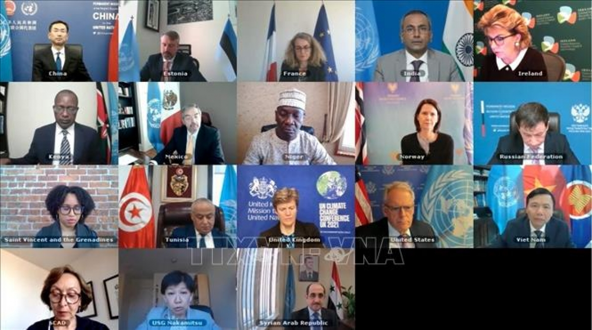 A paromanic view of the UNSC videoconference briefing on chemical weapons in Syria. (Photo: VNA)