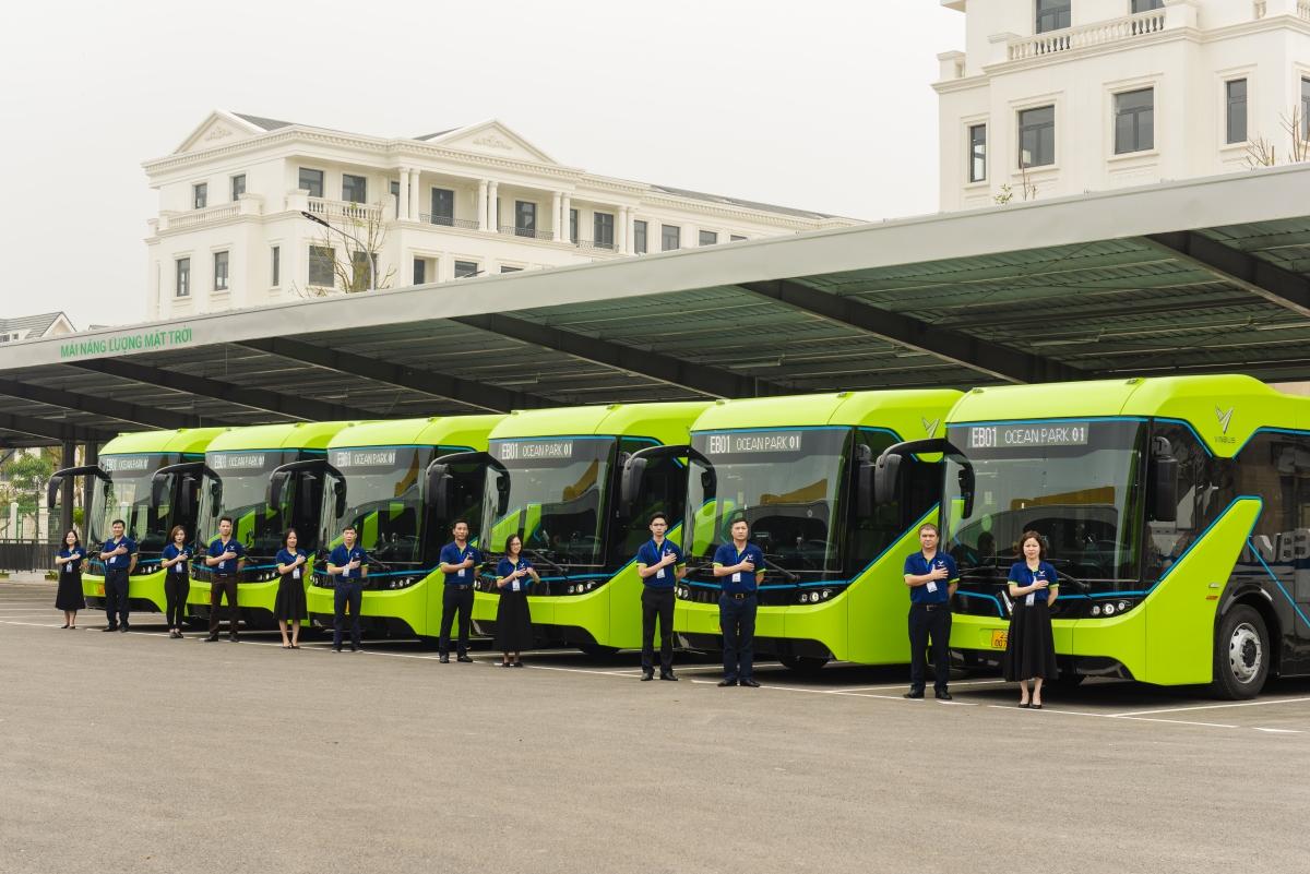 Những tuyến xe buýt điện đầu tiên sẽ chạy tại khu đô thị Vinhomes Ocean Park (Gia Lâm).