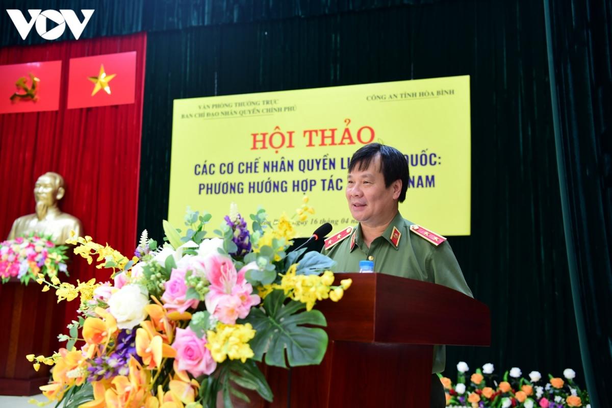 Trung tướng Nguyễn Thanh Sơn, Chánh Văn phòng Thường trực về Nhân quyền. (Ảnh: Trọng Phú)