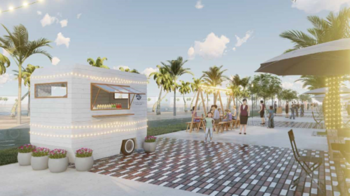 """Tại Hội chợ mua sắm """"Ocean Street Market"""", cư dân và khách tham quan sẽ được trải nghiệm phố đi bộ sầm uất với hơn 50 gian hàng là những chiếc xe lưu động phong cách biển nhiệt đới"""