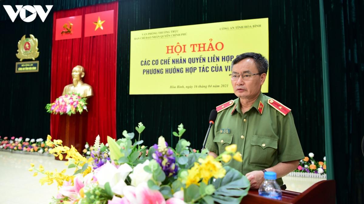 Thiếu tướng Trần Thanh - Phó Cục trưởng Cục An ninh Điều tra. (Ảnh: Trọng Phú)