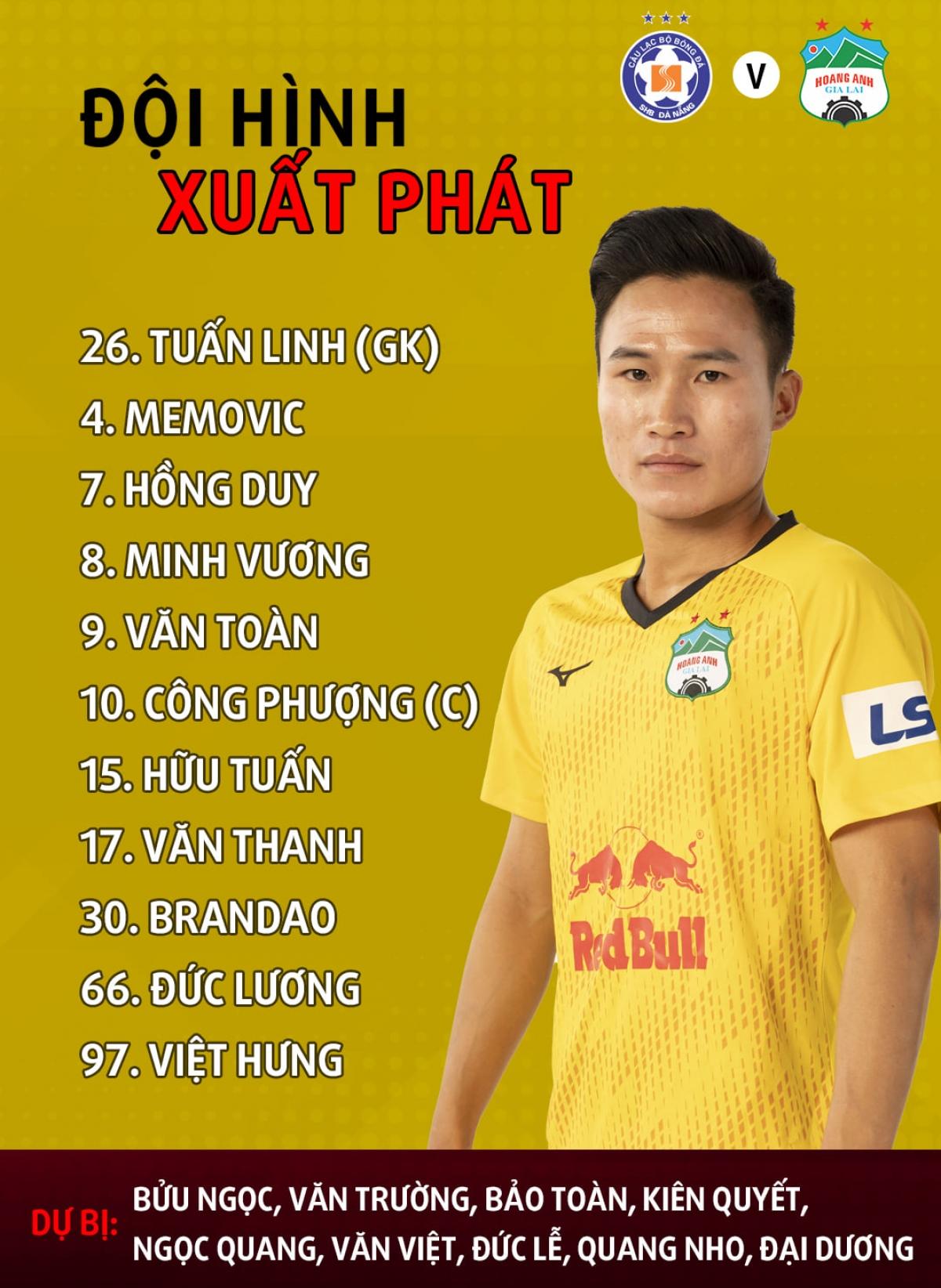Đội hình xuất phát của HAGL. Việt Hưng thay vị trí của Xuân Trường. (Ảnh: HAGL).