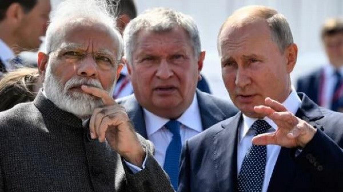 Thủ tướng Ấn Độ Narendra Modi và Tổng thống Nga Vladimir Putin. (Nguồn: hindustantimes.com)
