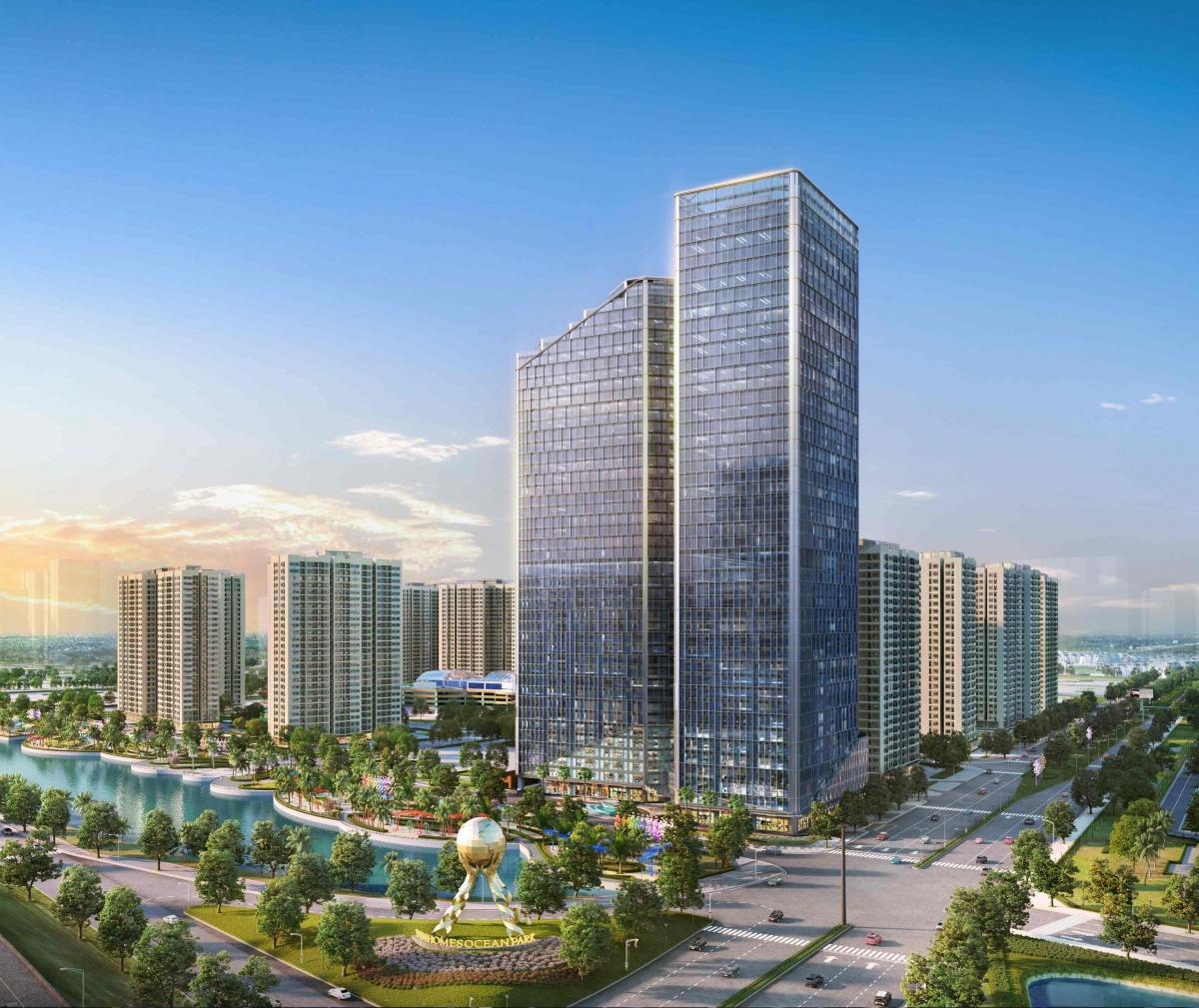 TechnoPark Tower - tòa văn phòng thông minh 45 tầng tại Vinhomes Ocean Park được trang bị trang bị hệ thống pin năng lượng mặt trời như Apple Park và có các bể nước mưa để tái sử dụng tưới cây, vệ sinh tòa nhà.