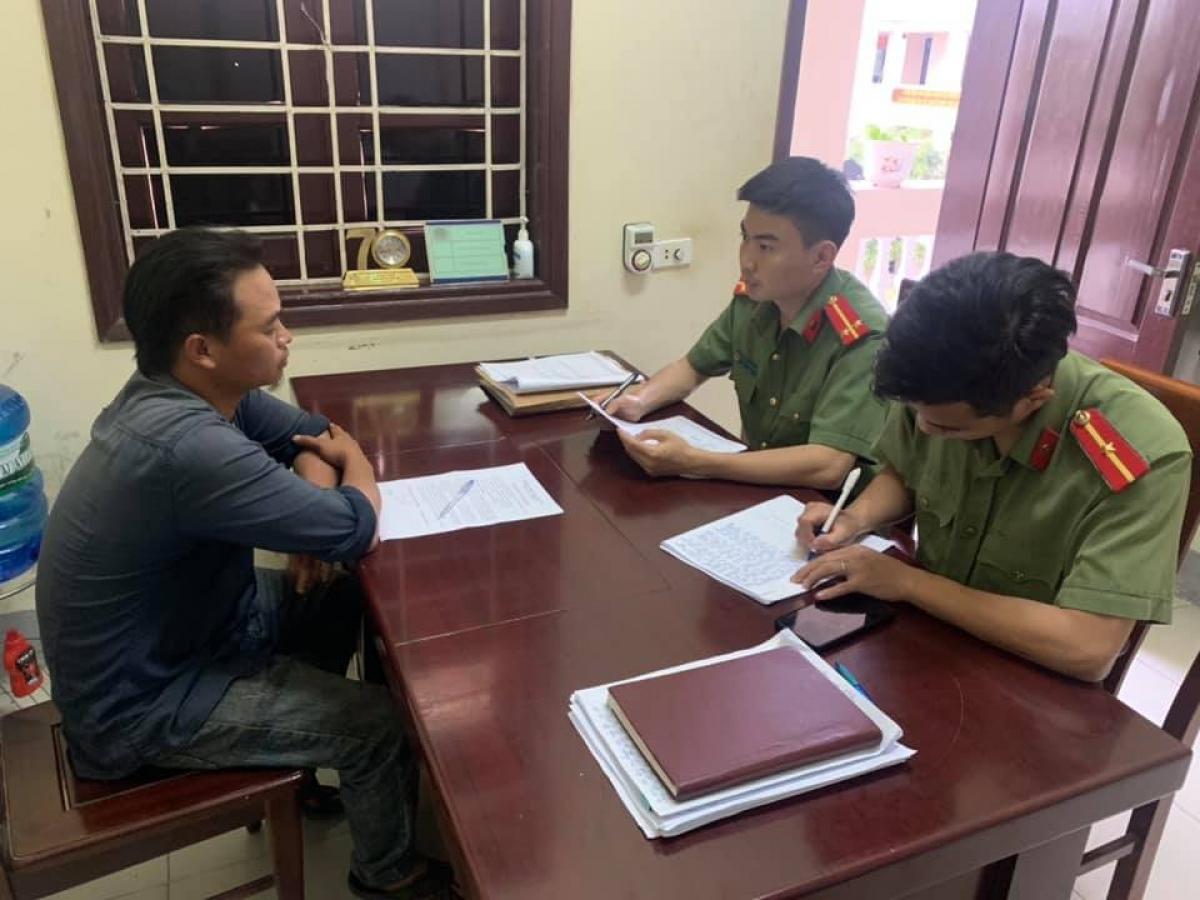 Nguyễn Văn Thái tại cơ quan công an.