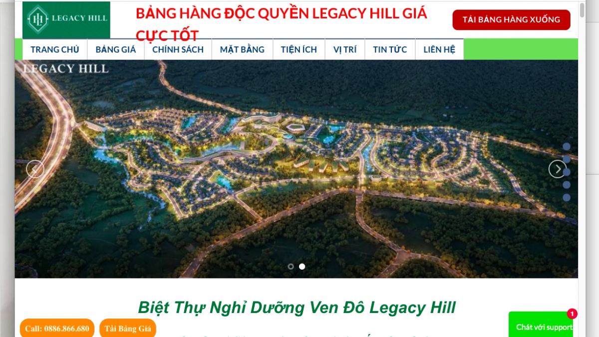 Dự án Legacy Hill Hòa Bình được giới thiệu bán trên mạng.