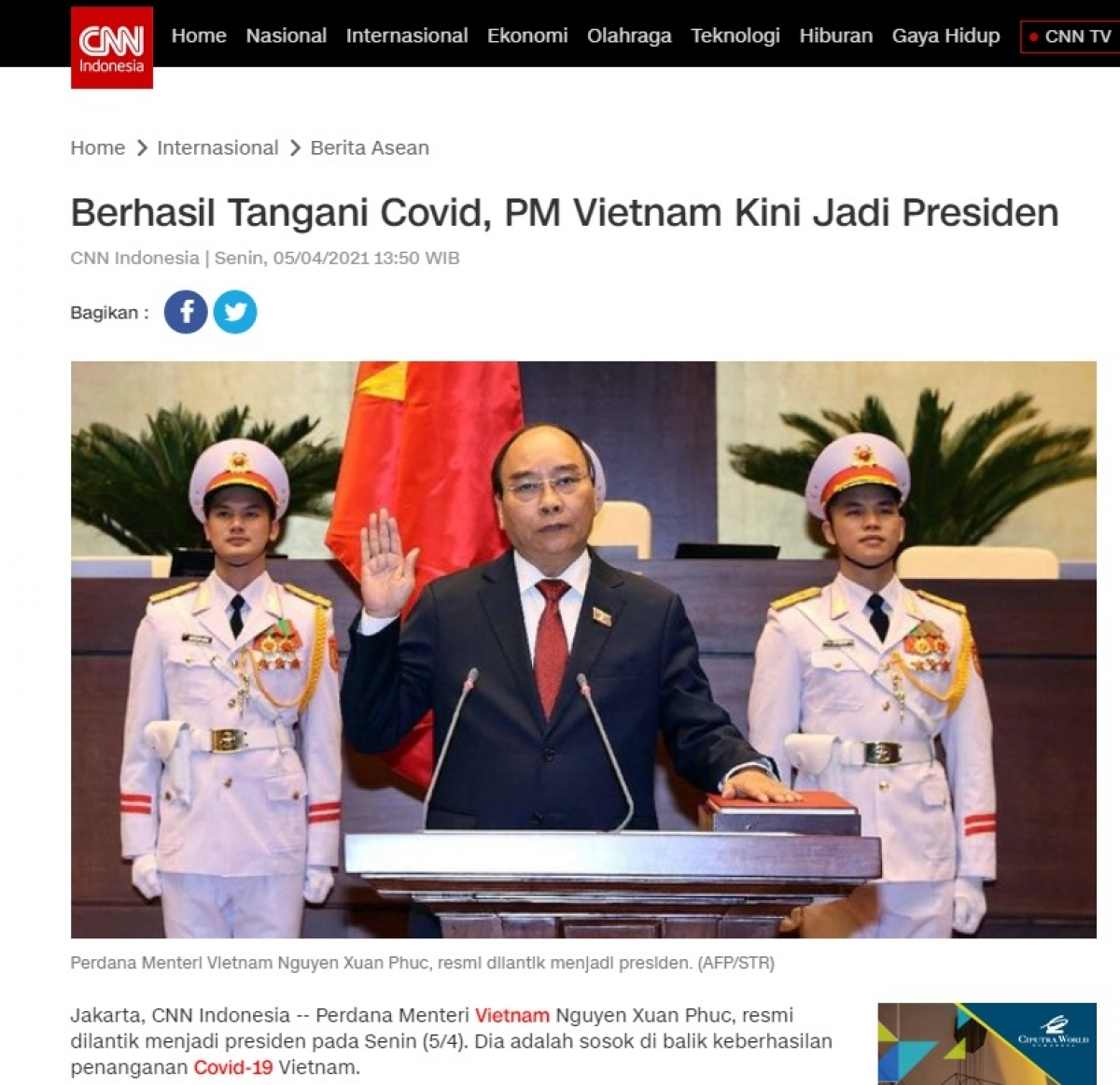 The article is posted on CNN Indonesia