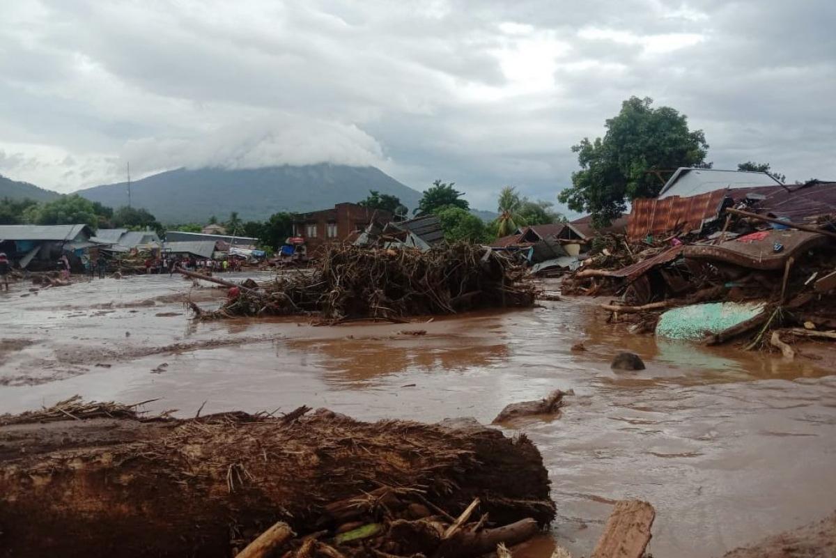 Các ngôi nhà bị cuốn trôi tại Đông Flores (Nguồn: CQ Quản lý thảm họa Indonesia)