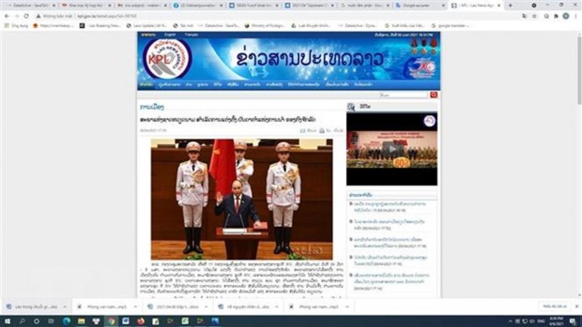 Bài viết của Thông tấn xã Đất nước Lào (KPL) đánh giá về việc Quốc hội Việt Nam bầu các chức danh chủ chốt gồm, Chủ tịch nước, Chủ tịch Quốc hội và Thủ tướng. (Ảnh: Phạm Kiên/TTXVN)