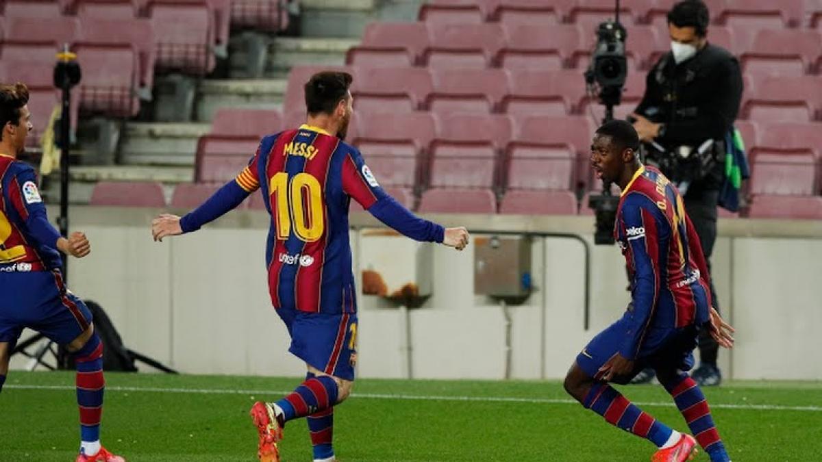 Dembele mang về chiến thắng phút cuối cho Barca. (Ảnh: Reuters)