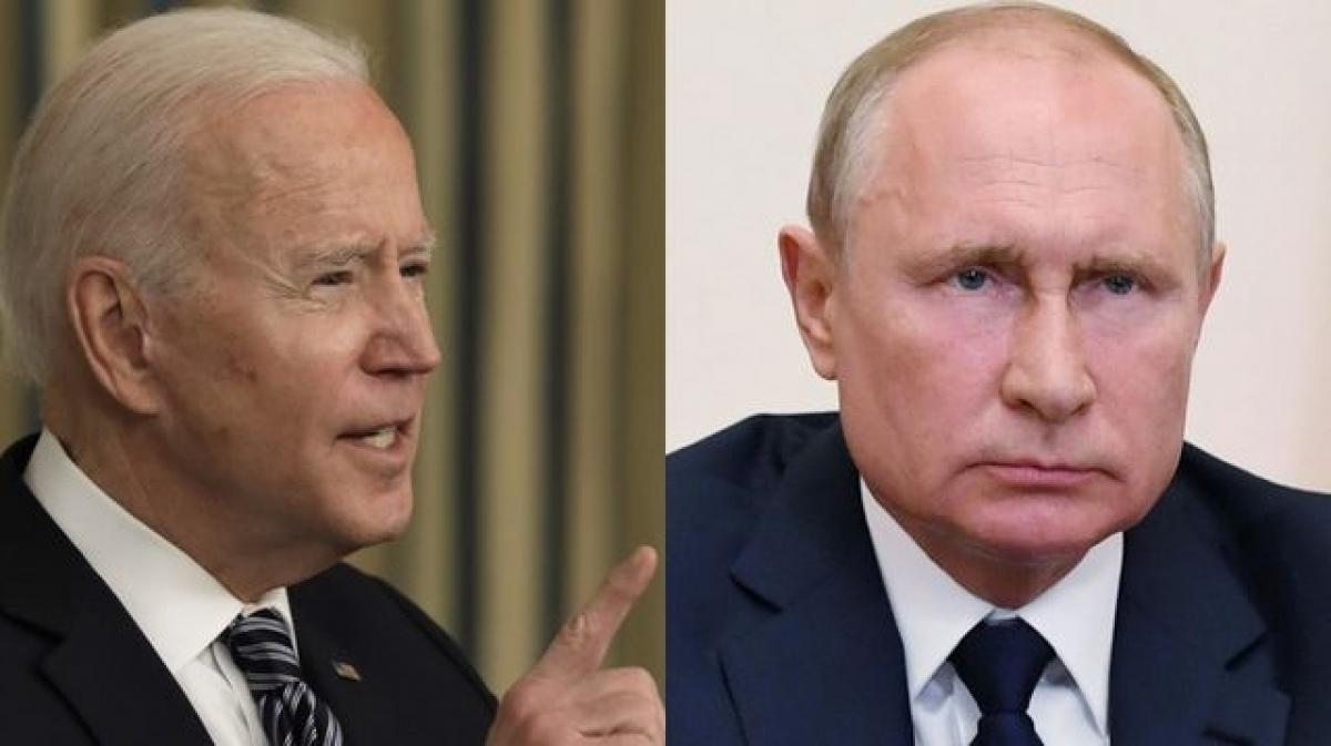 Chân dung Tổng thống Mỹ Biden và Tổng thống Nga Putin. Ảnh: Bloomberg.