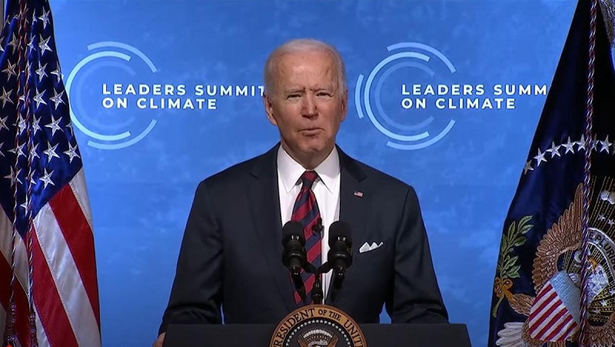 Tổng thống Mỹ Biden phát biểu tại hội nghị thượng đỉnh trực tuyến về biến đổi khí hậu ngày 22/4 (giờ Mỹ). Ảnh: Youtube