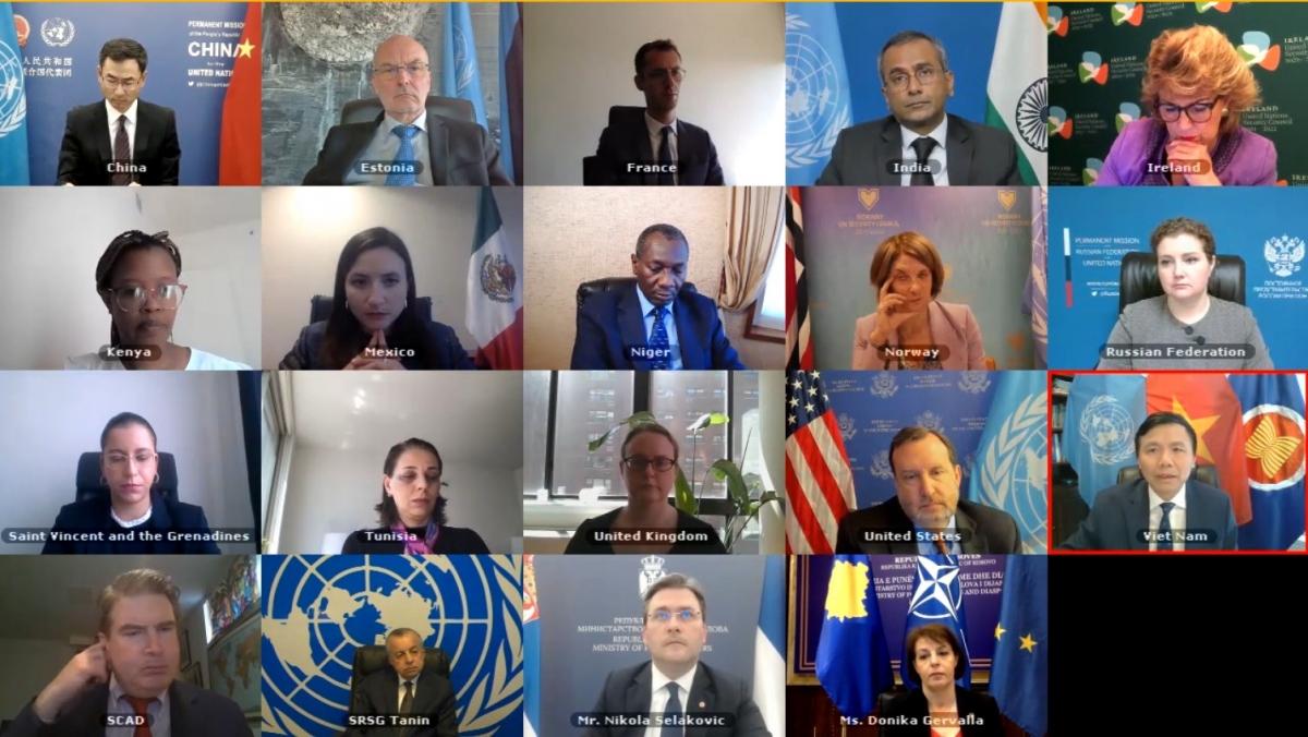 Phiên họp trực tuyến của Đại sứ Đặng Đình Quý dựhọp trực tuyến của HĐBA LHQ về tình hình Kosovo về tình hình Kosovo.