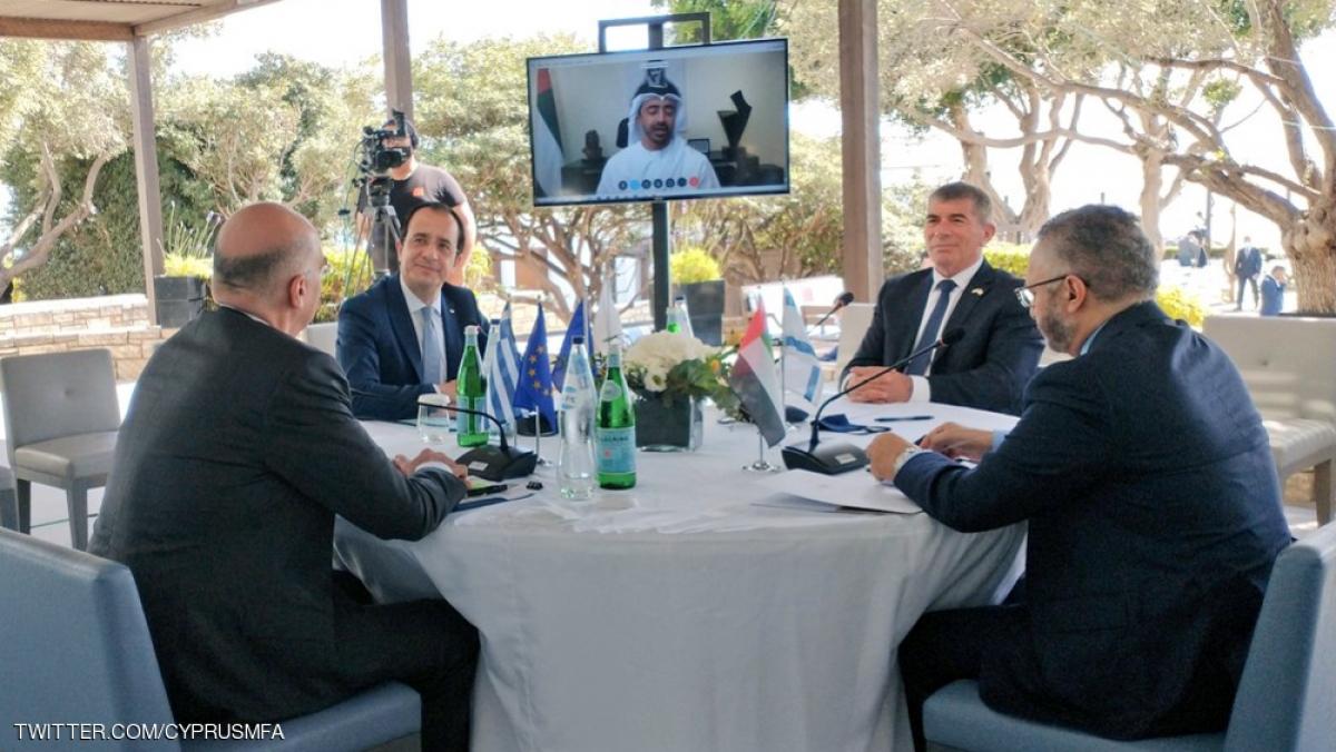 Thông điệp hòa bình và thịnh vượng sau cuộc gặp của Bộ trưởng Ngoại giao 4 nước: Síp Hy Lạp UAE và israel - Ảnh Skynewsarabia.
